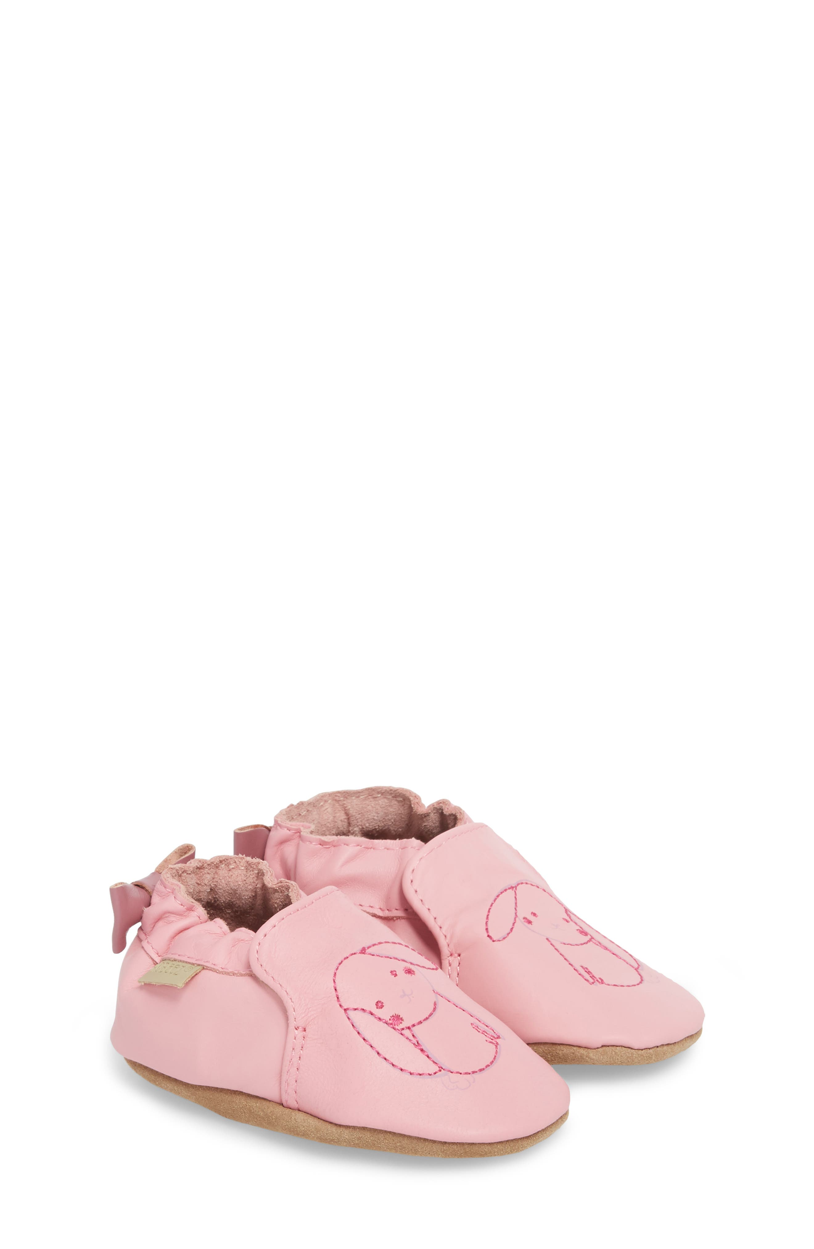 Sweet Bunny Moccasin Crib Shoe,                             Main thumbnail 1, color,                             PASTEL PINK