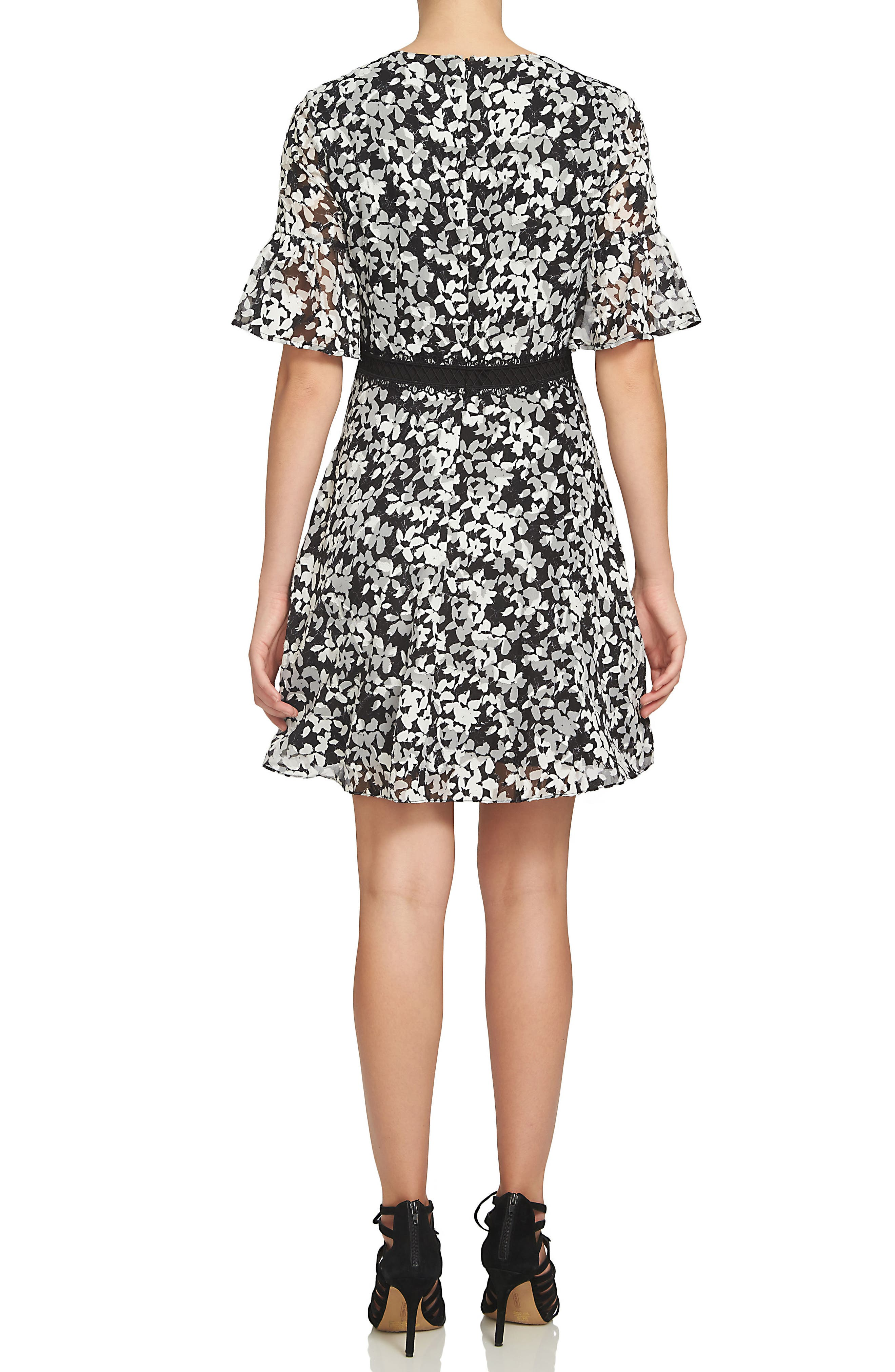Alayna Floral Fit & Flare Dress,                             Alternate thumbnail 2, color,                             006