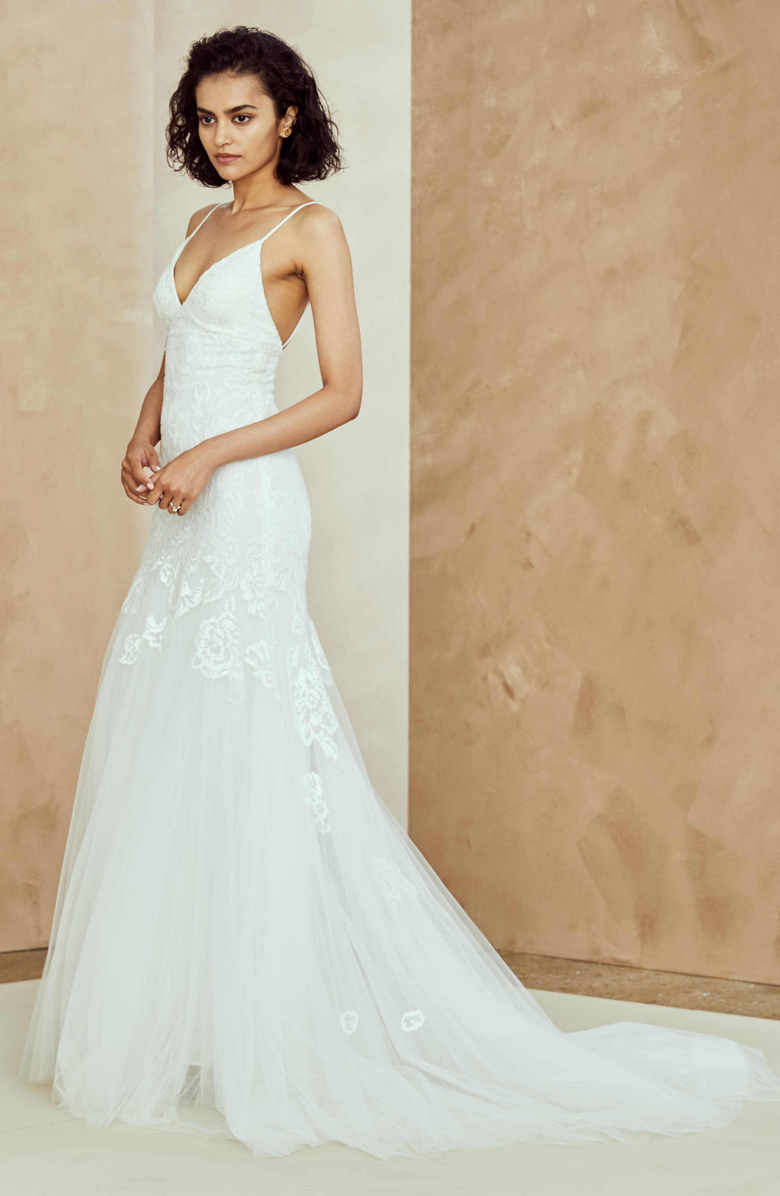 Abbey Embroidered Tulle Trumpet Gown,                             Alternate thumbnail 3, color,                             IVORY