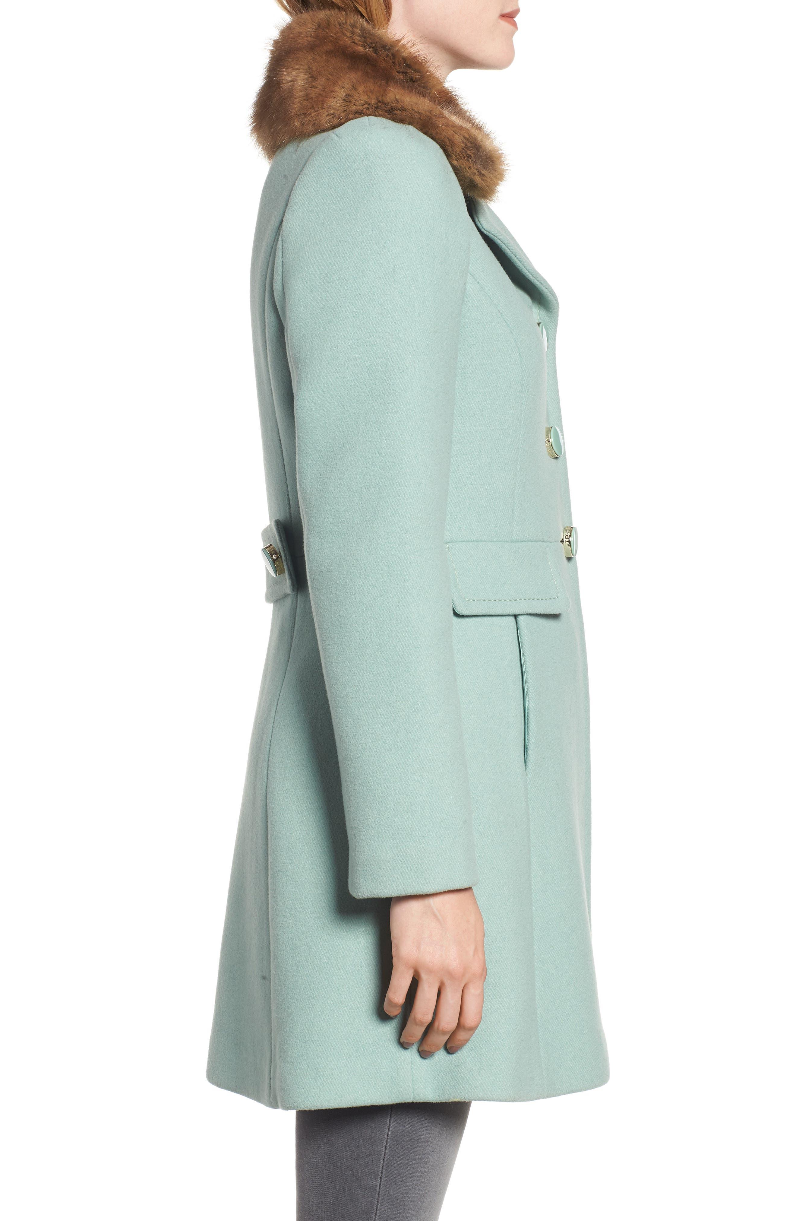 faux fur collar wool blend coat,                             Alternate thumbnail 3, color,                             300