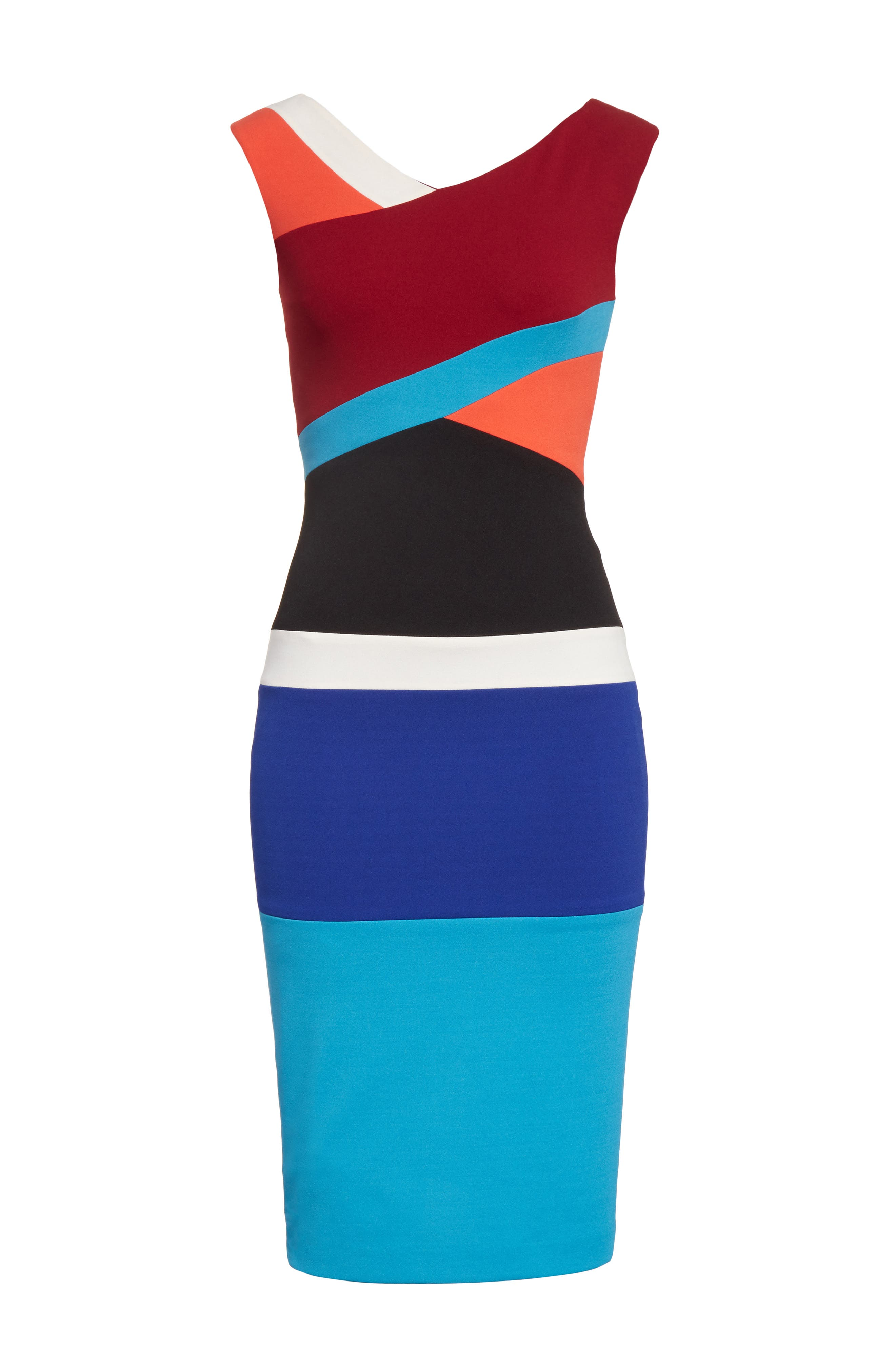 Colorblock Surplice Dress,                             Alternate thumbnail 6, color,                             498