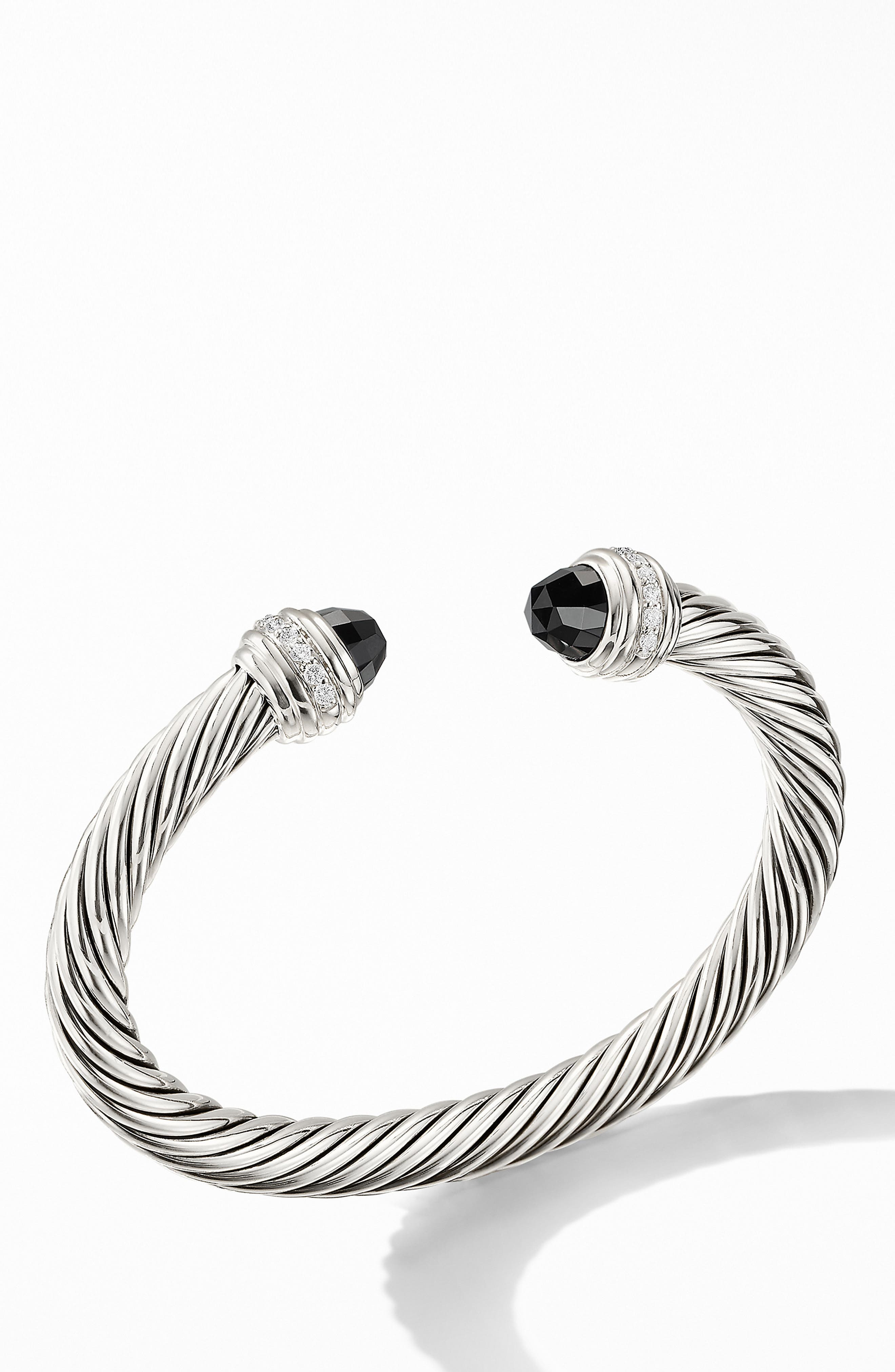 Cable Classics Bracelet with Semiprecious Stones & Diamonds, 7mm,                             Main thumbnail 1, color,                             SILVER/ DIAMOND/ BLACK ONYX