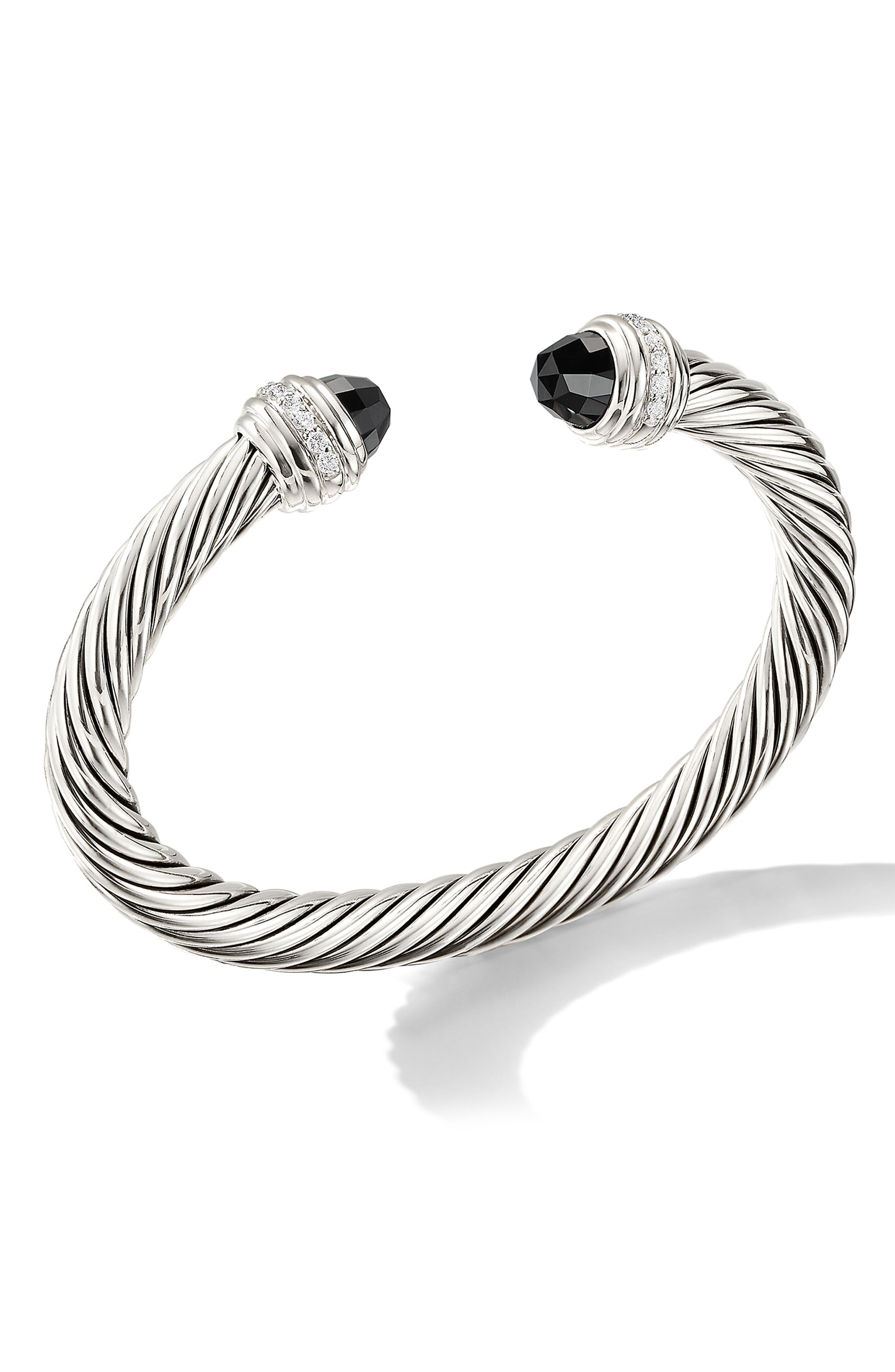 Cable Classics Bracelet with Semiprecious Stones & Diamonds, 7mm, Main, color, SILVER/ DIAMOND/ BLACK ONYX