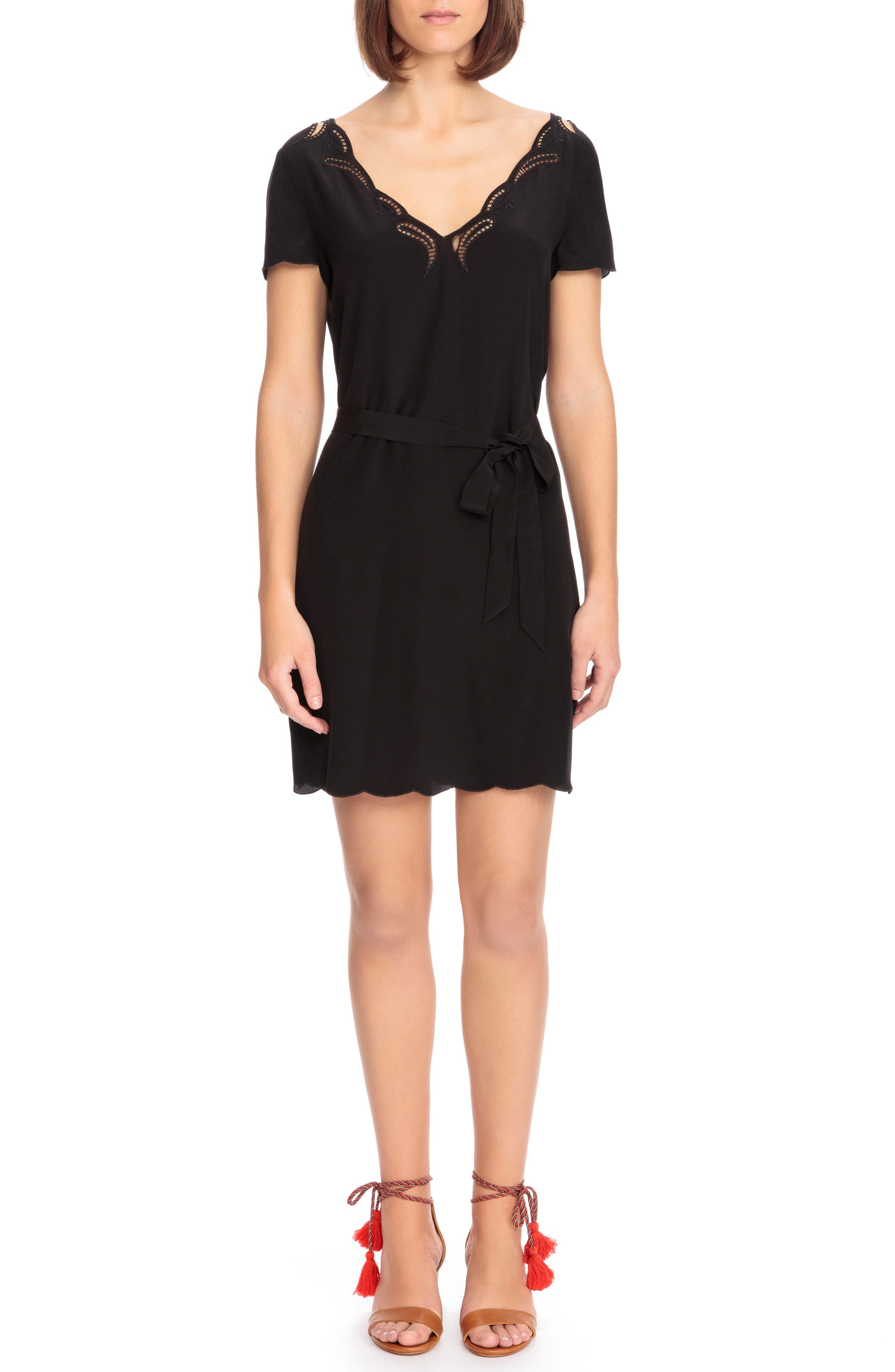 Anabella Belted Silk Dress,                         Main,                         color, 001