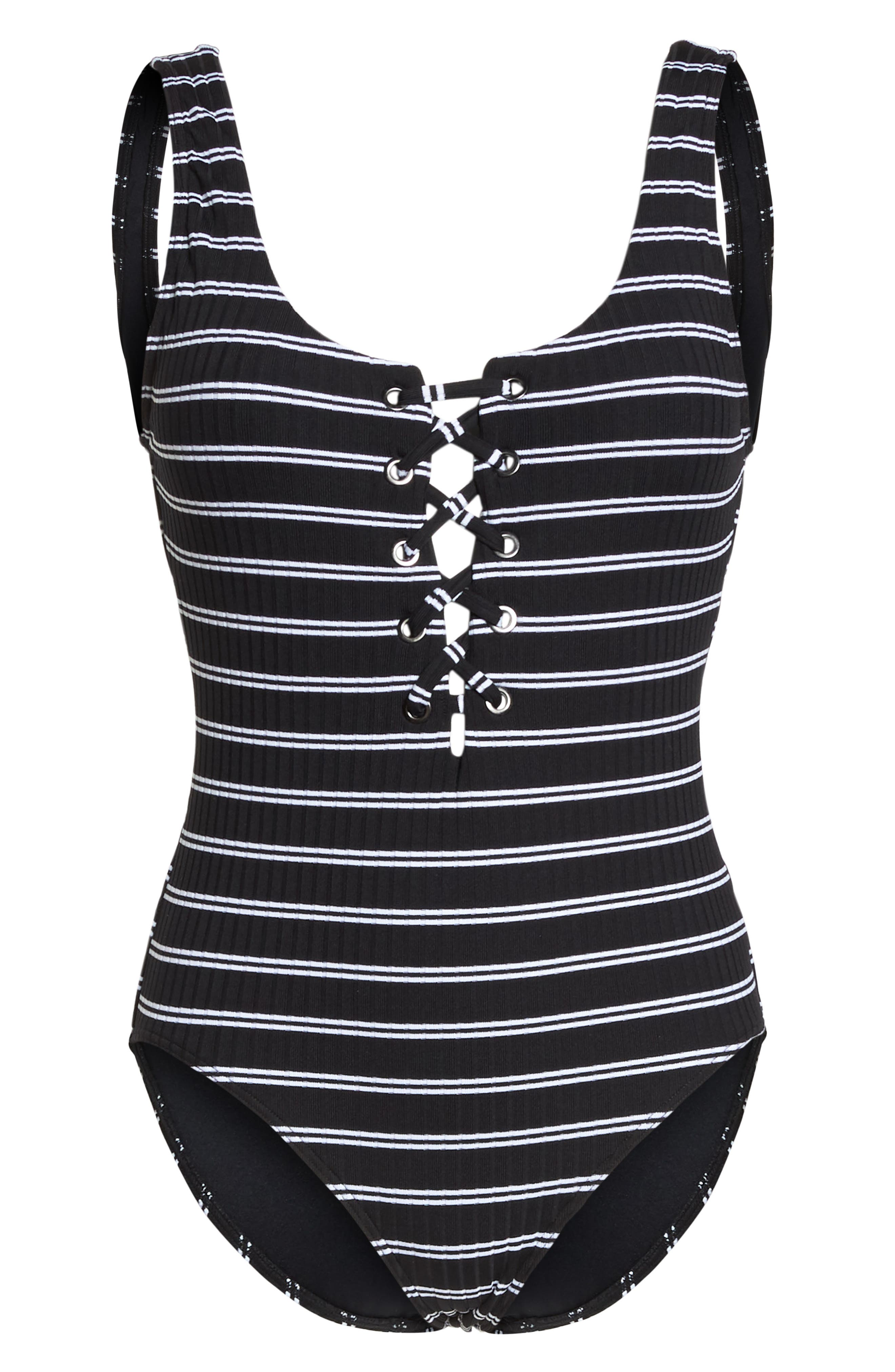 Inka Stripe Lace-Up One-Piece Swimsuit,                             Alternate thumbnail 6, color,                             BLACK