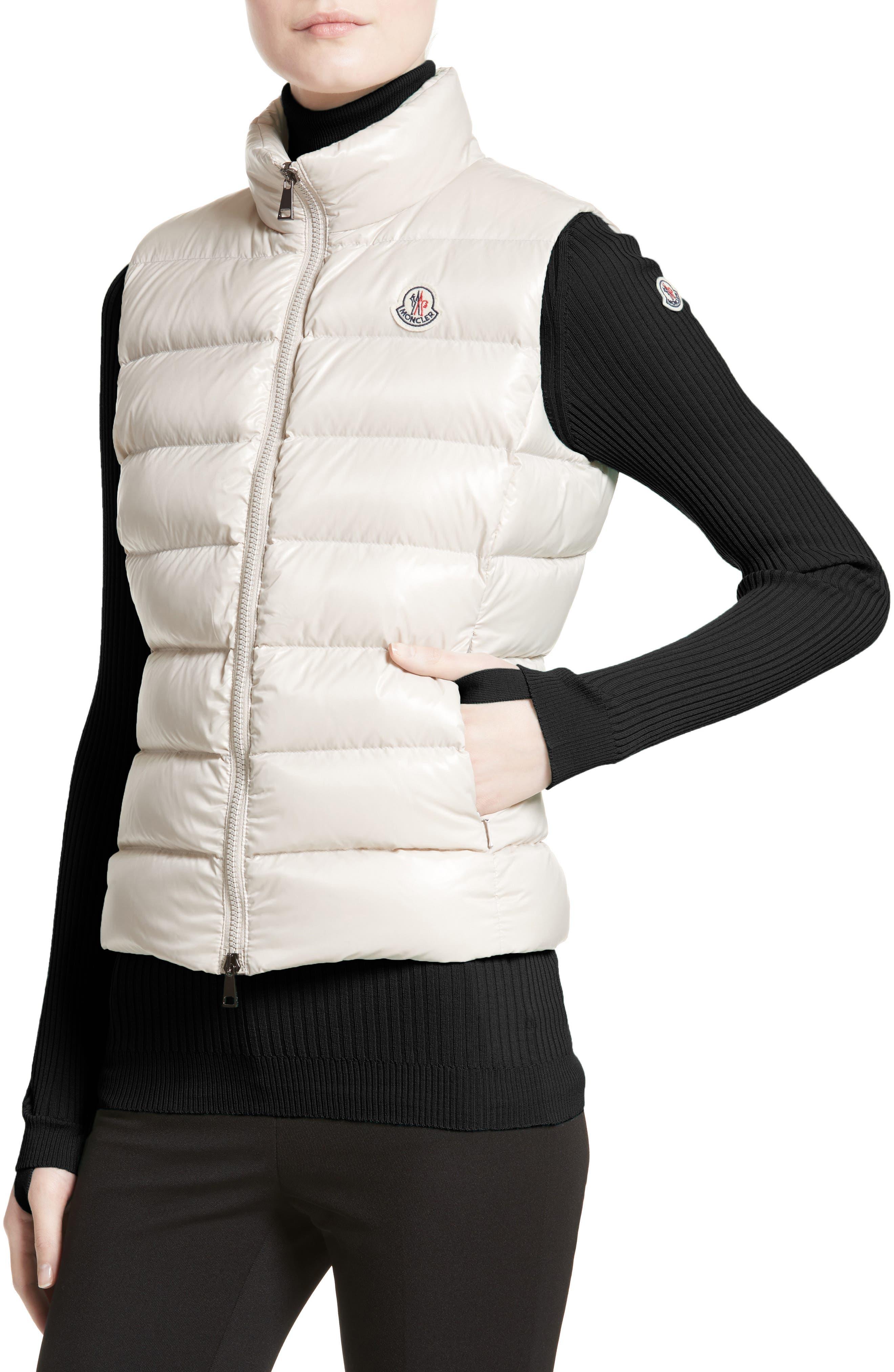 Ghany Water Resistant Shiny Nylon Down Puffer Vest,                             Alternate thumbnail 4, color,                             BEIGE