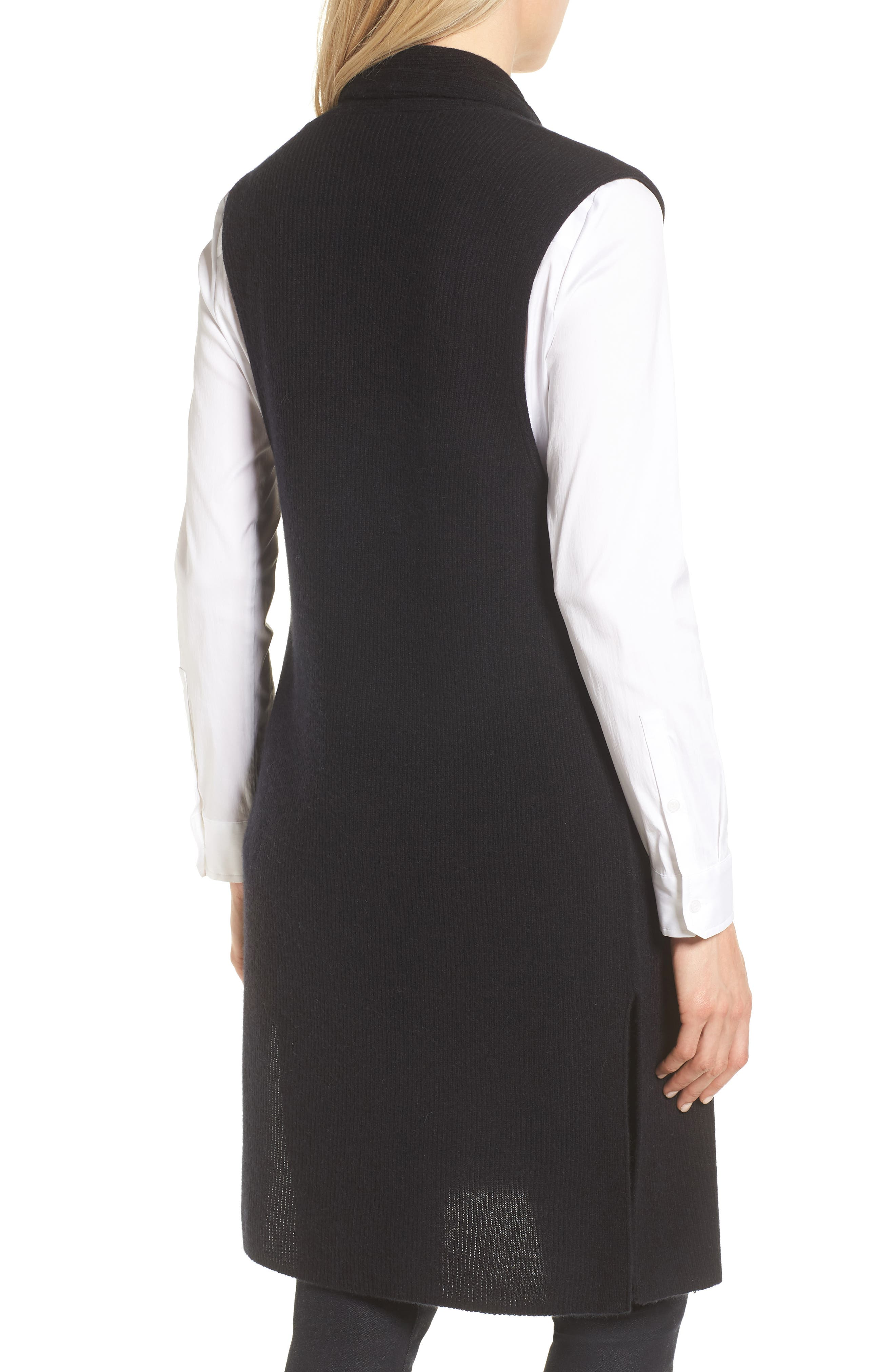 Ribbed Cashmere Vest,                             Alternate thumbnail 2, color,                             001
