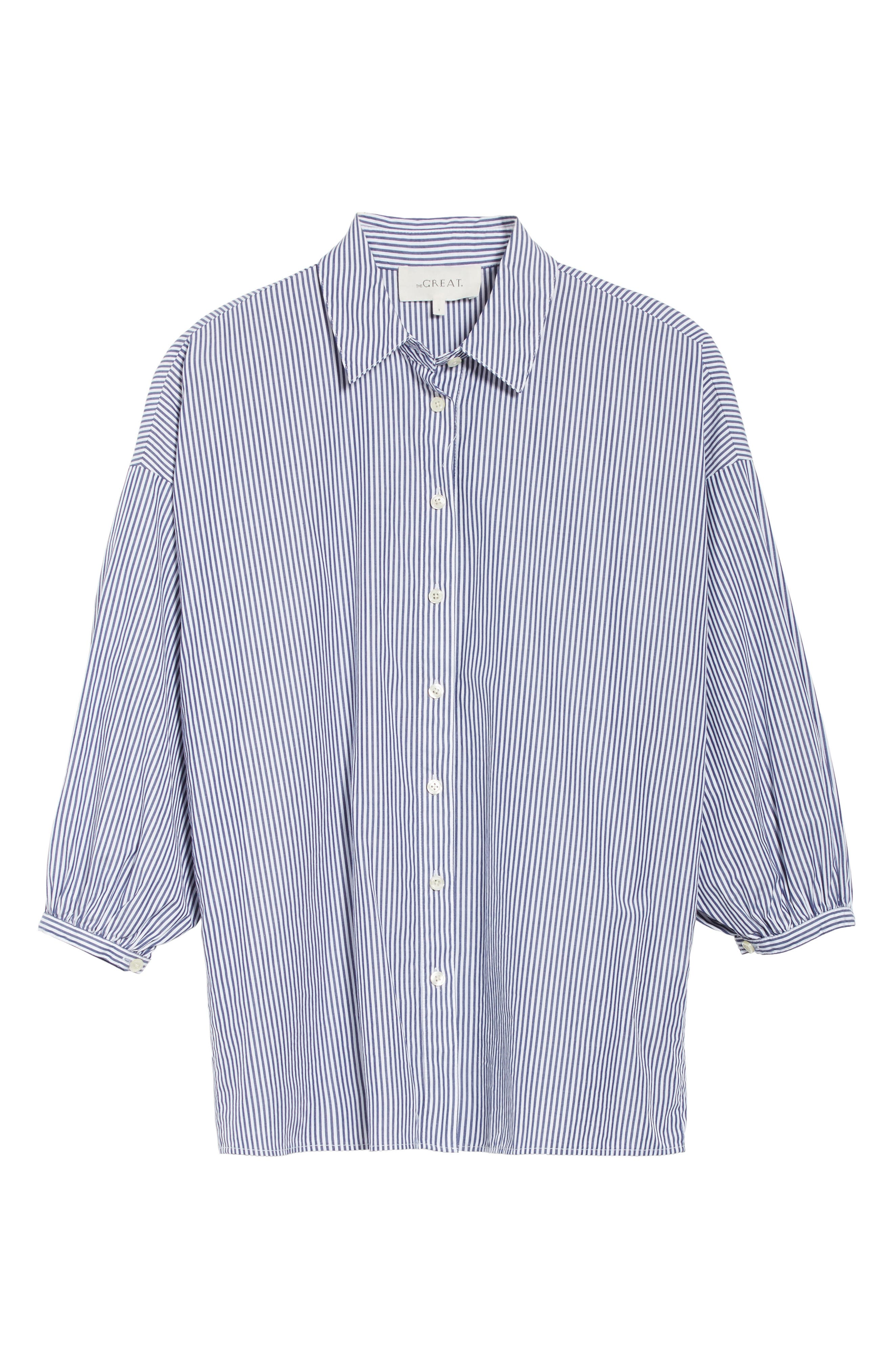 The Easy Stripe Cotton Shirt,                             Alternate thumbnail 6, color,                             400