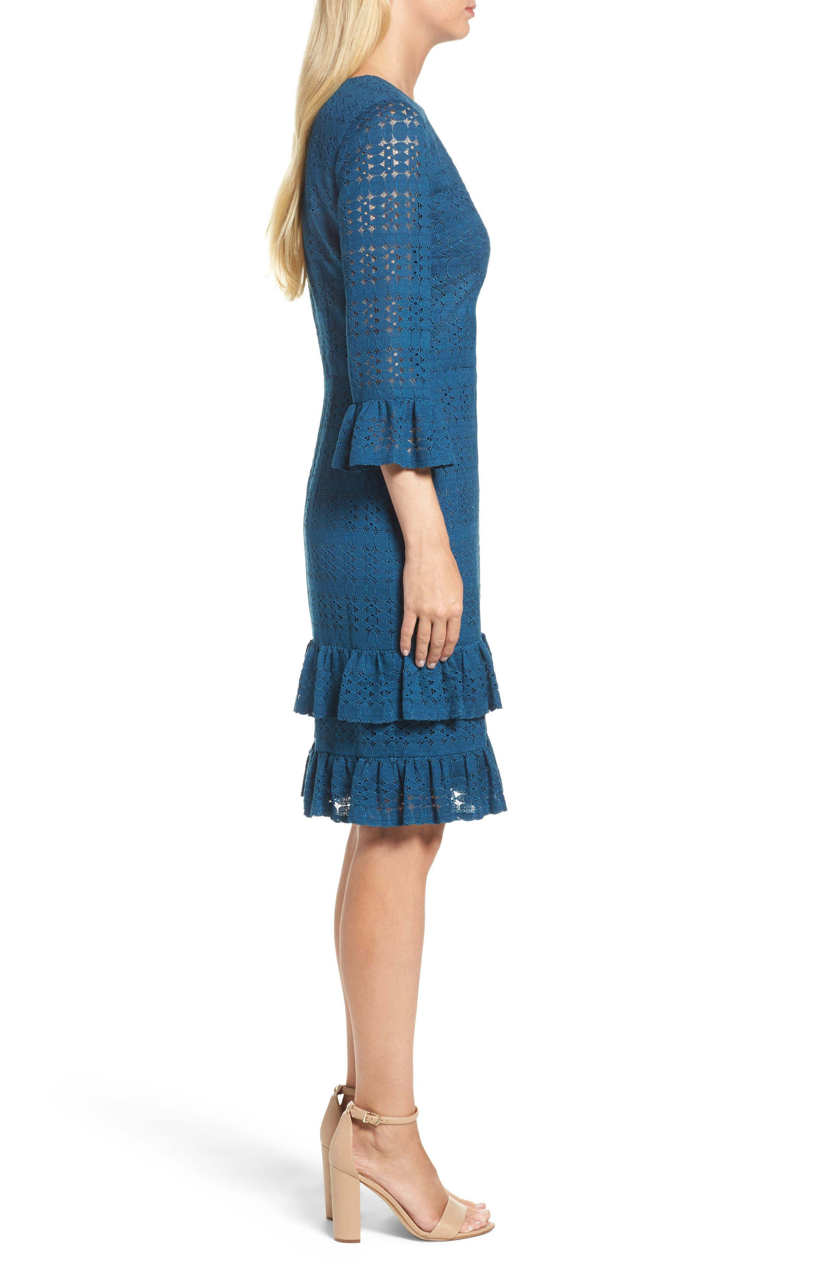 Ruffle Lace Sheath Dress,                             Alternate thumbnail 3, color,                             458