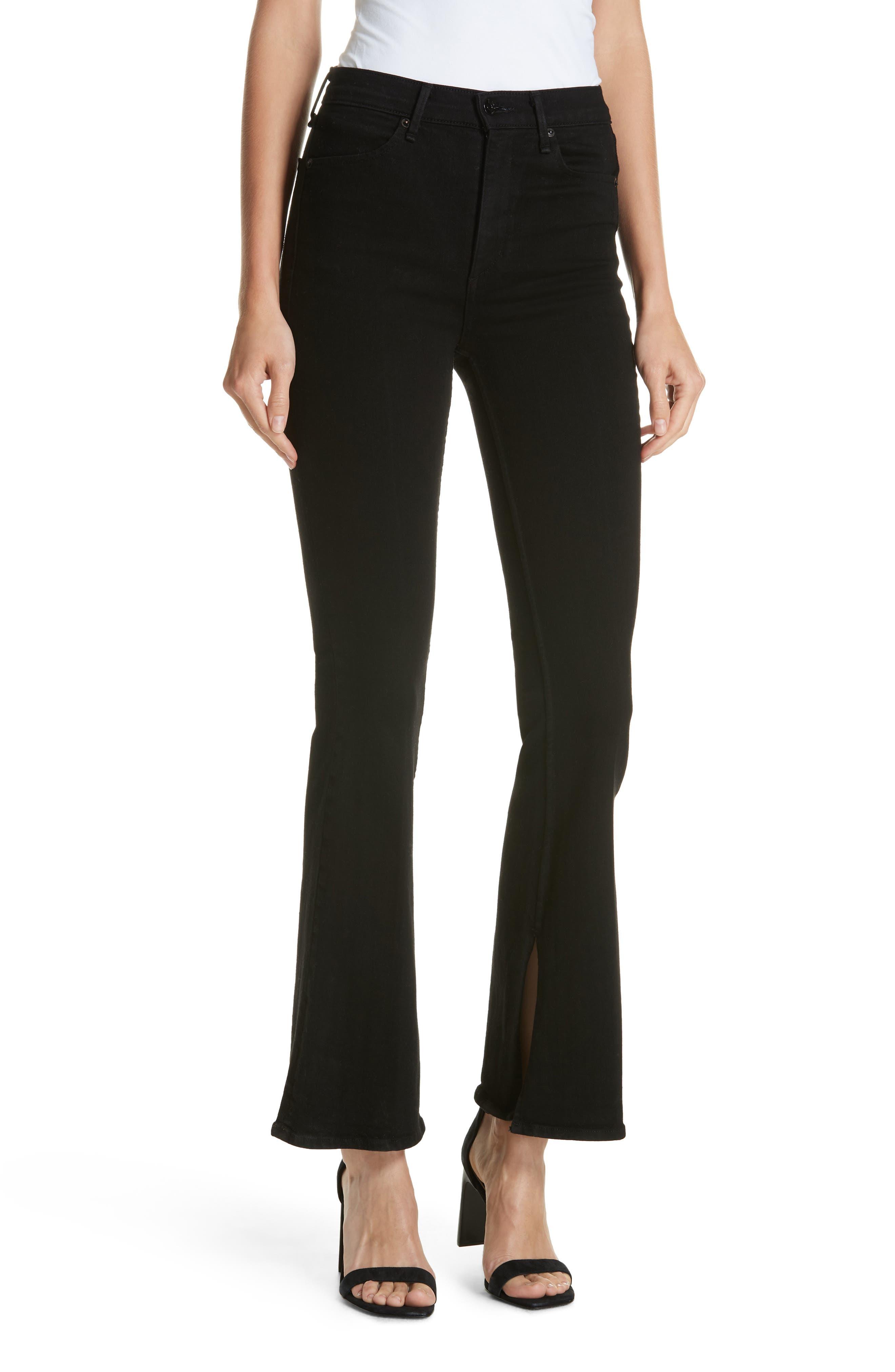 Bella Flare Jeans,                         Main,                         color, BLACK