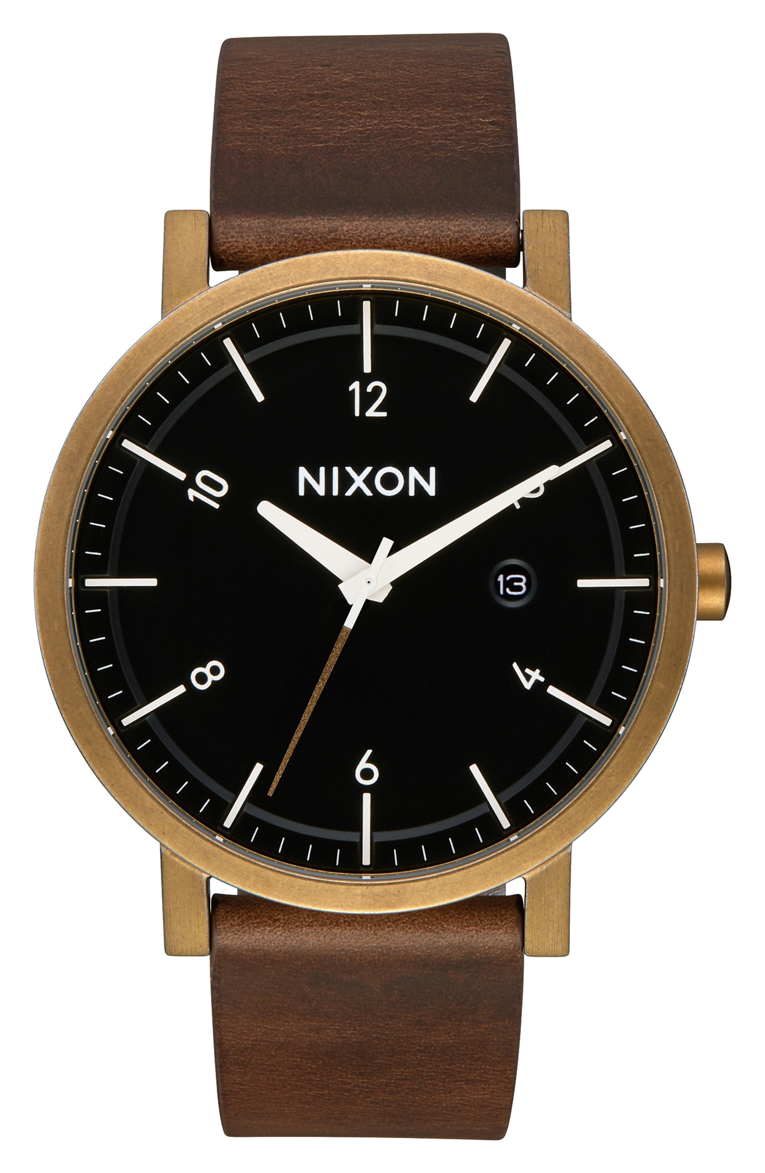 'Rollo' Leather Strap Watch, 42mm,                         Main,                         color, BROWN/ BLACK/ BRASS