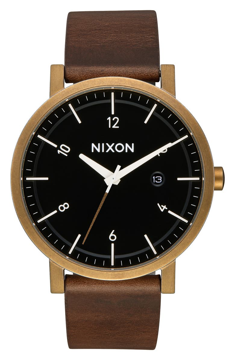 Nixon Watches 'ROLLO' LEATHER STRAP WATCH, 42MM