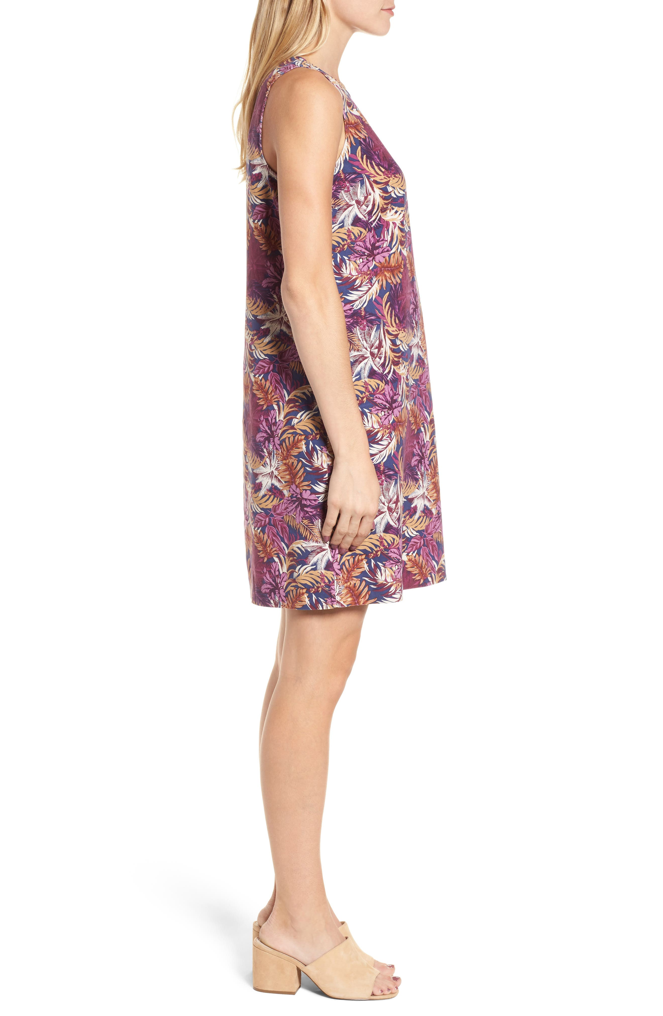 Ta-Leaf-A Silk Shift Dress,                             Alternate thumbnail 3, color,                             400