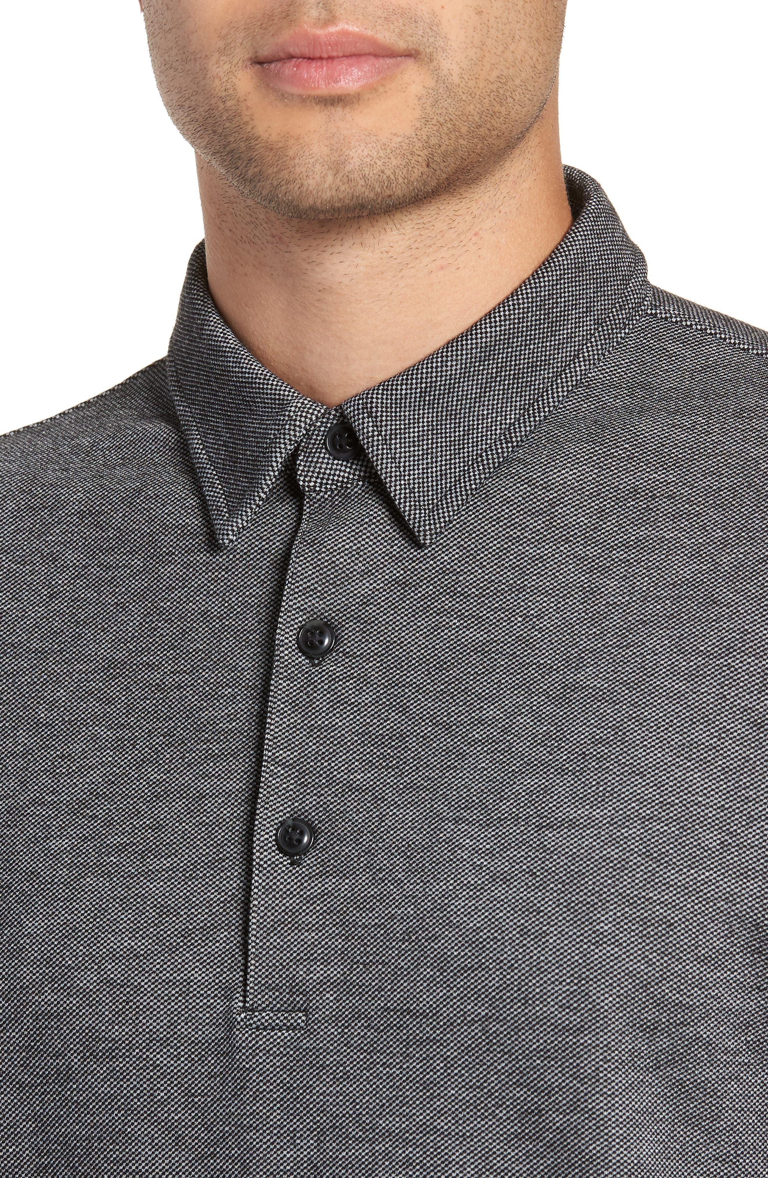 Trim Micro Jacquard Polo Shirt,                             Alternate thumbnail 4, color,                             001
