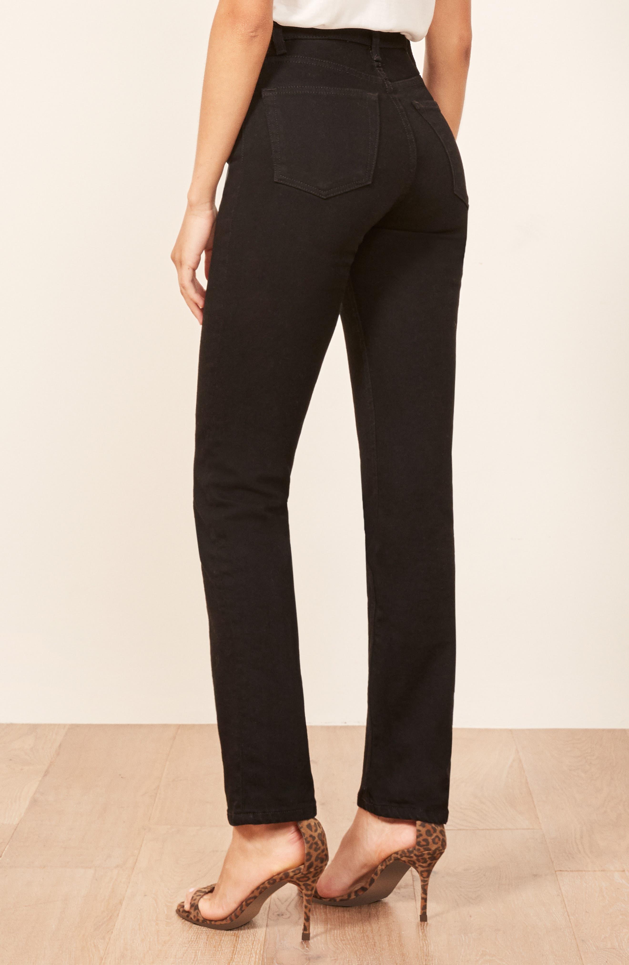 Liza High Waist Straight Leg Jeans,                             Alternate thumbnail 3, color,                             BLACK