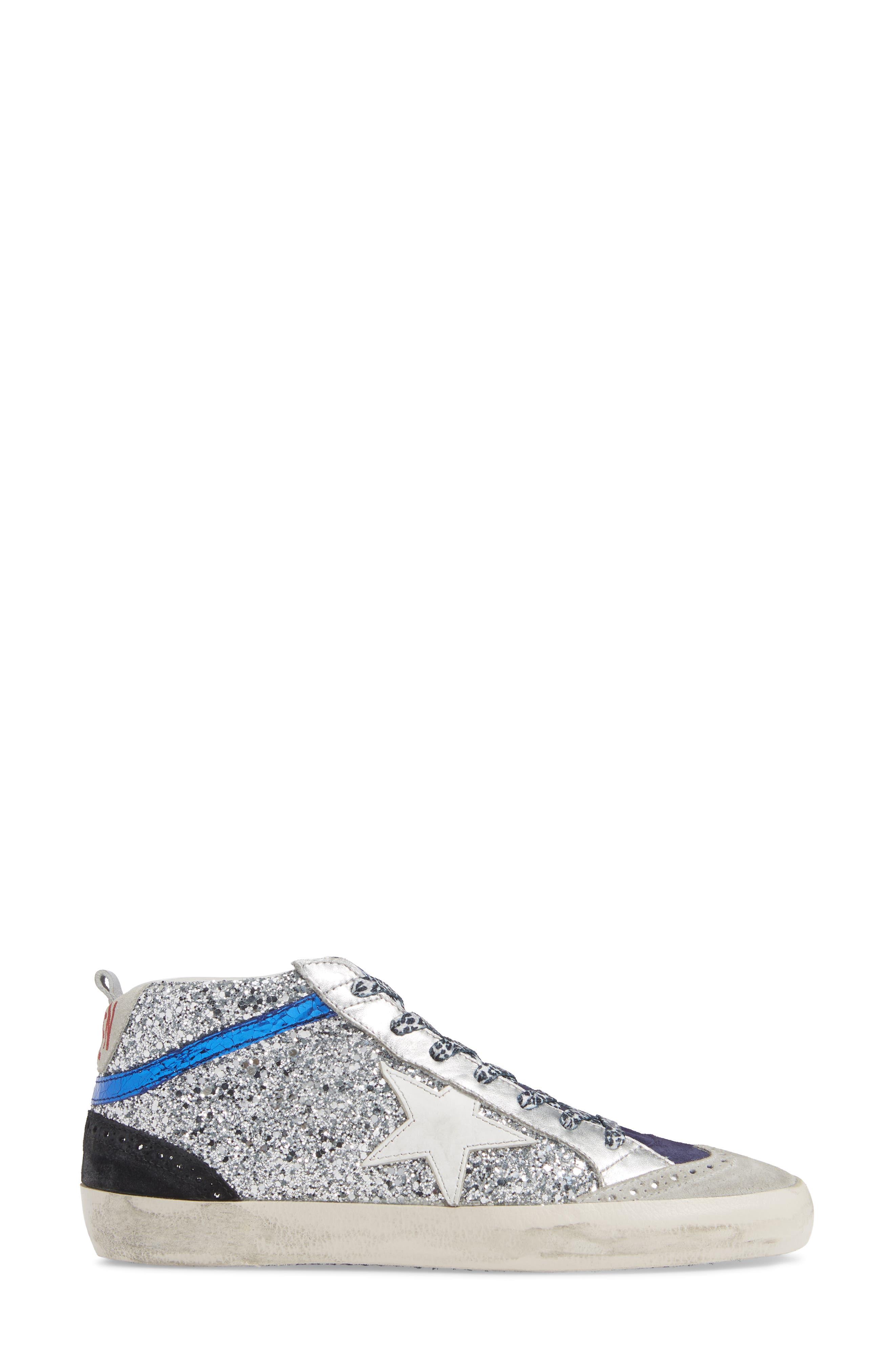 Mid Star Glitter Sneaker,                             Alternate thumbnail 3, color,                             SILVER/ WHITE