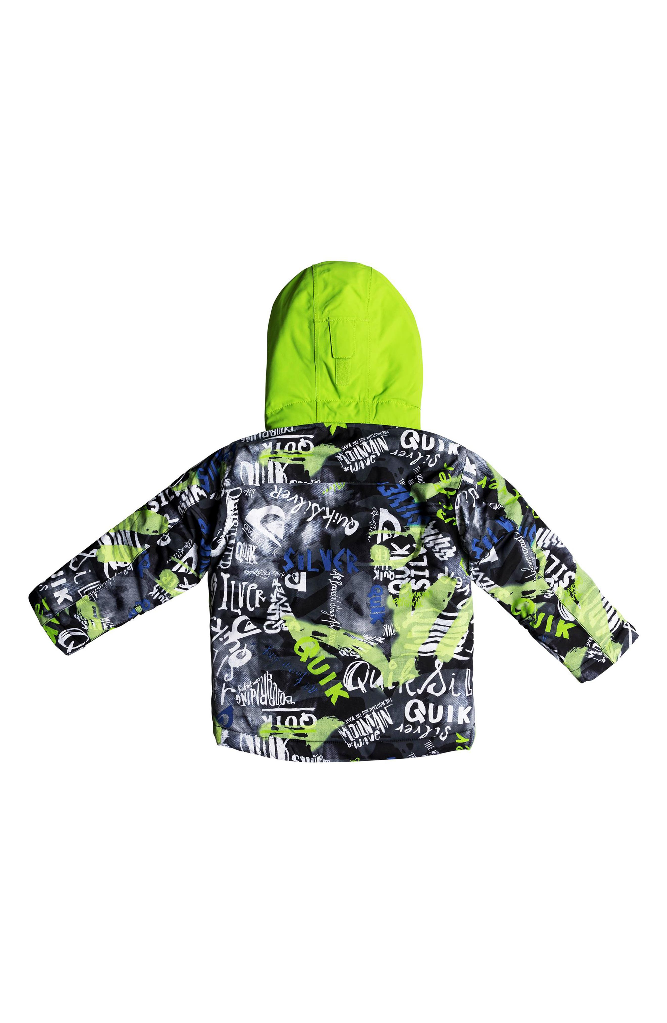 Little Mission Waterproof Hooded Jacket,                             Alternate thumbnail 2, color,                             BLACK CONSTRUCT