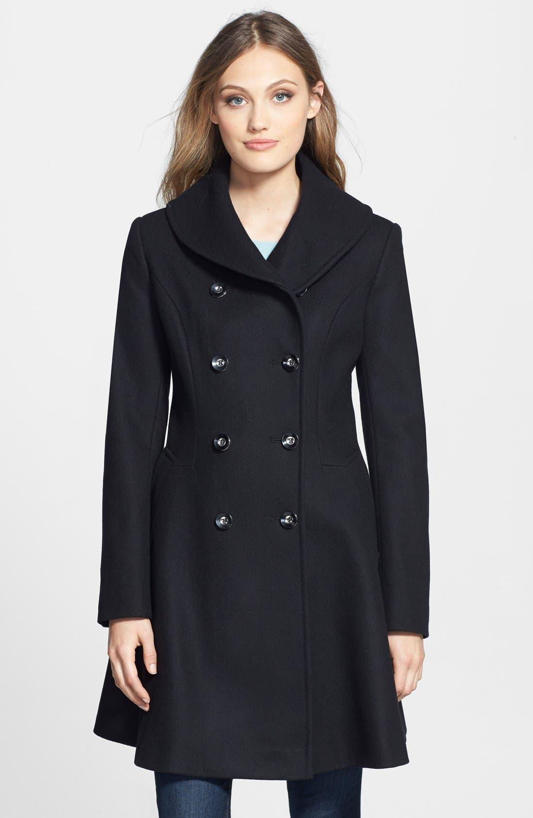 Skirted Wool Blend Coat, Main, color, 001