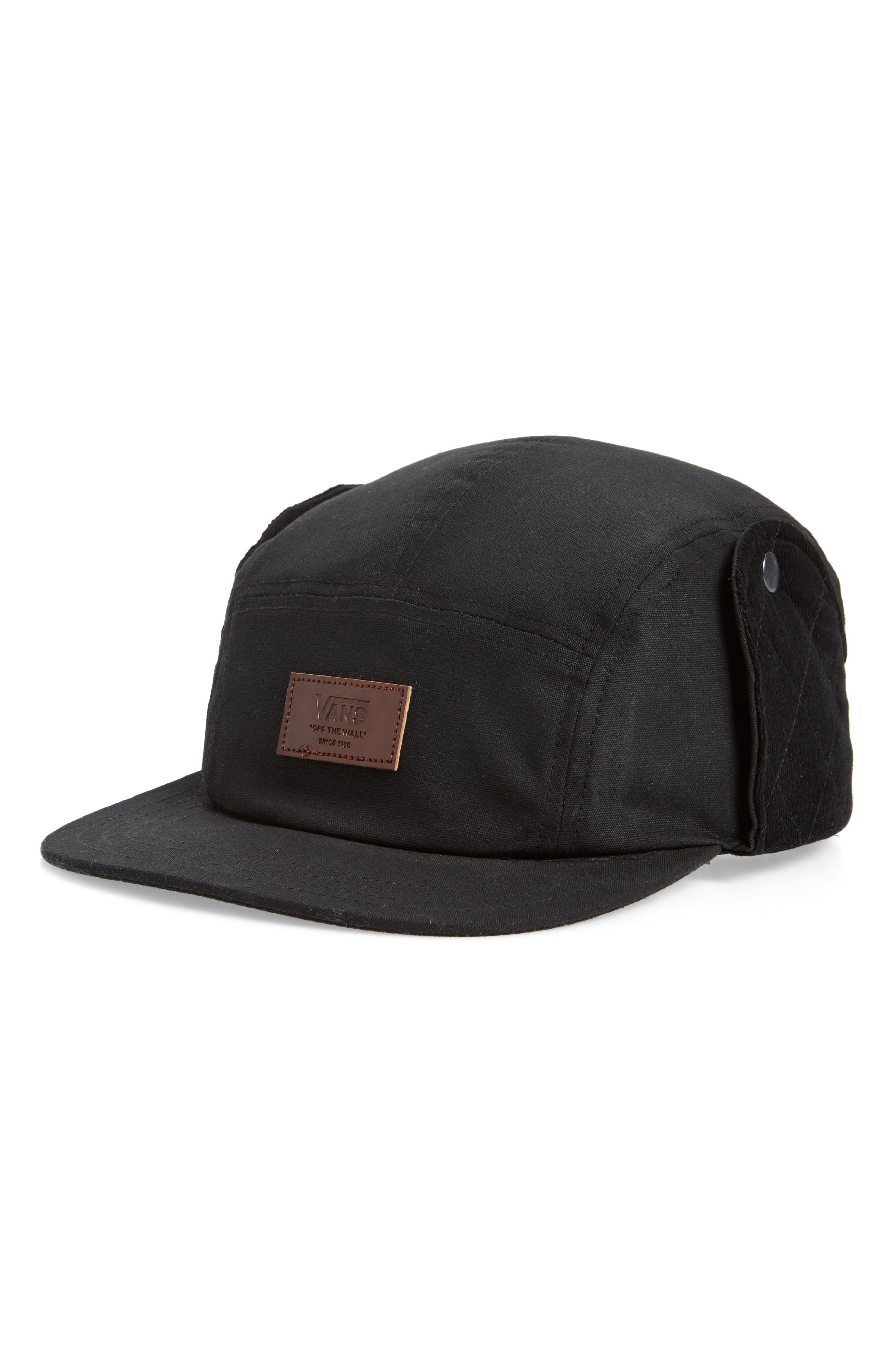 Snap Flap Camper Hat, Main, color, BLACK