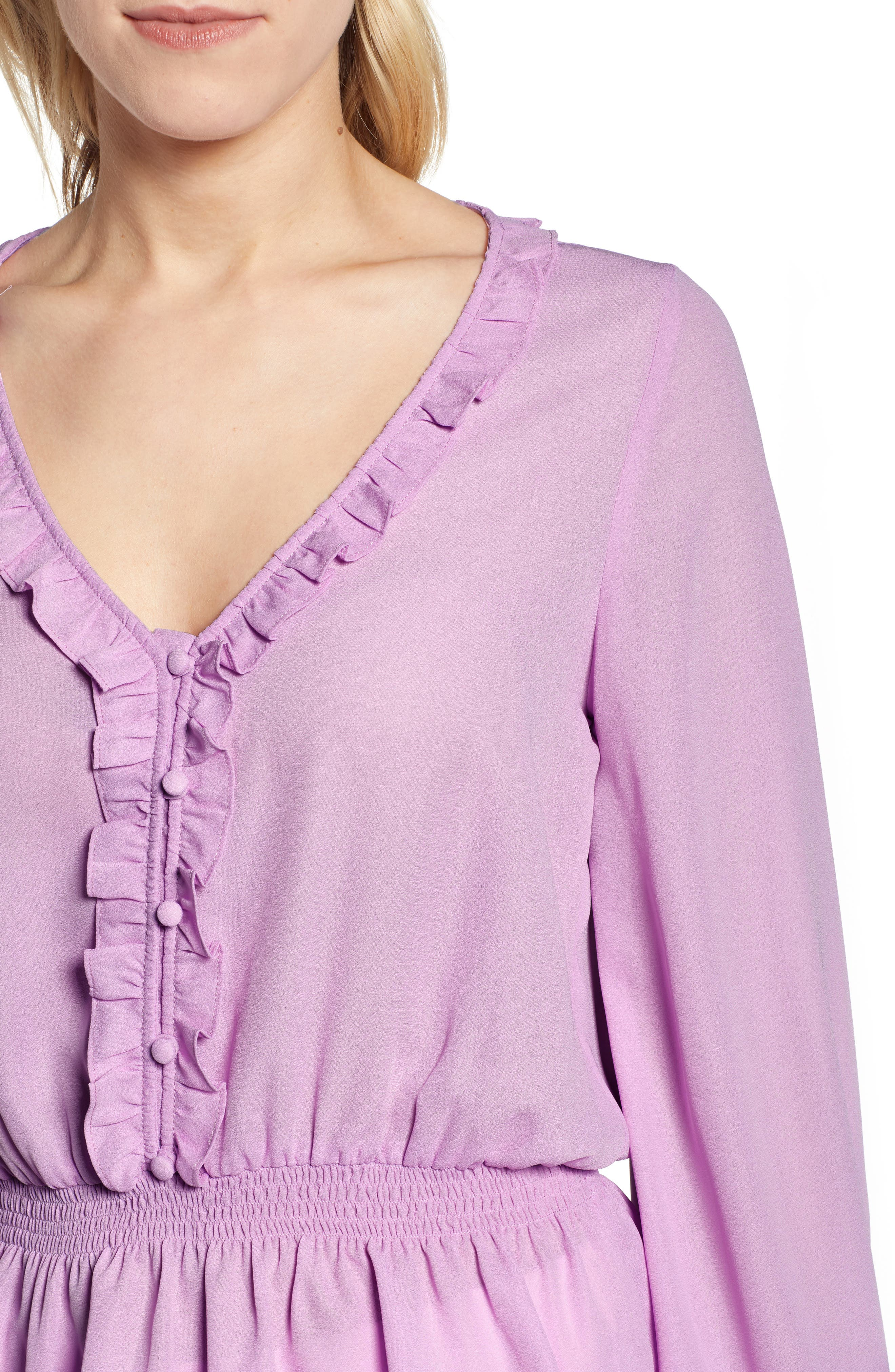 GIBSON,                             x International Women's Day Roselyn Ruffle Detail Smock Waist Blouse,                             Alternate thumbnail 4, color,                             LAVENDER LILY