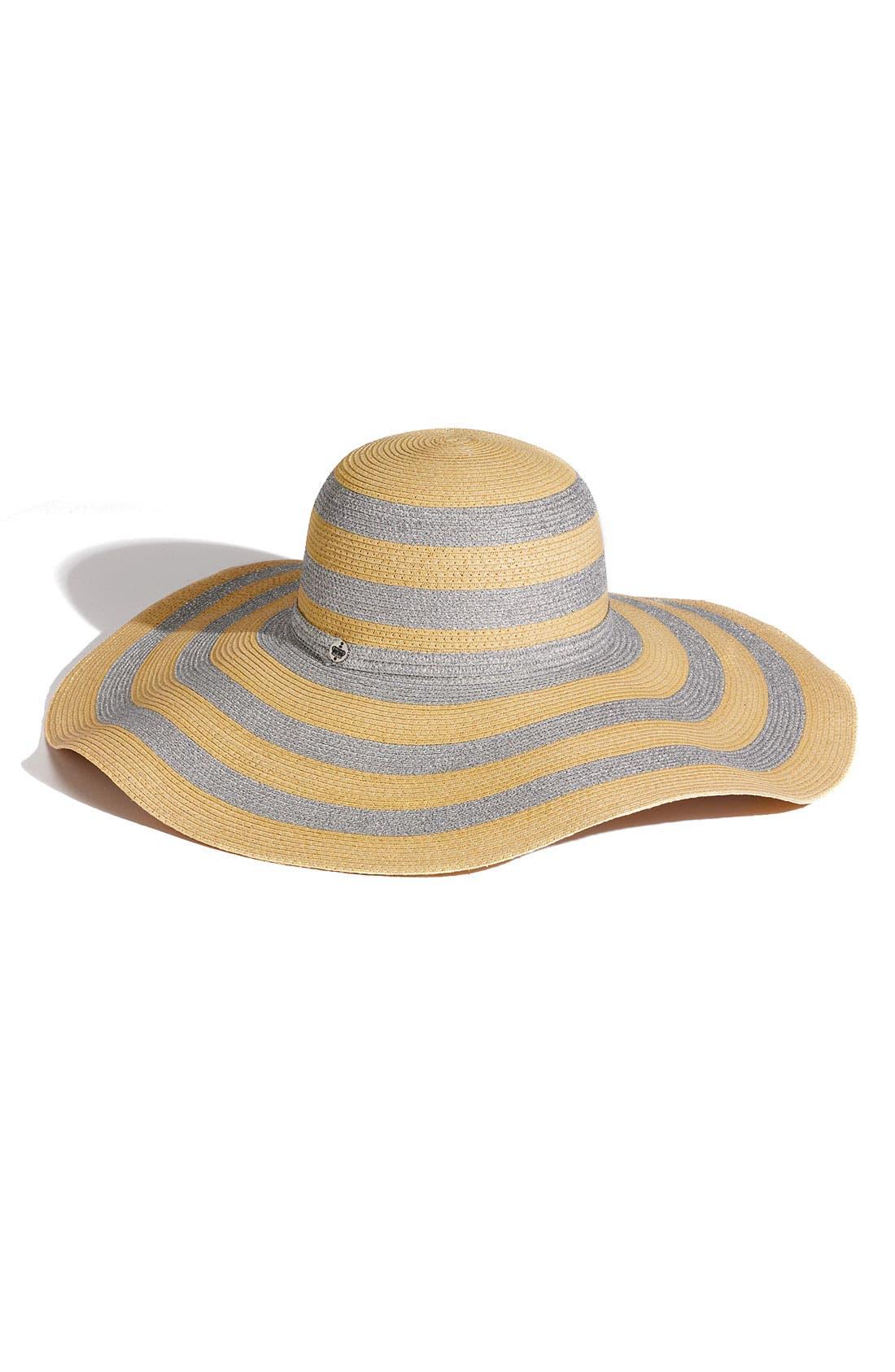 Stripe Floppy Paper Straw Hat,                             Main thumbnail 1, color,                             102