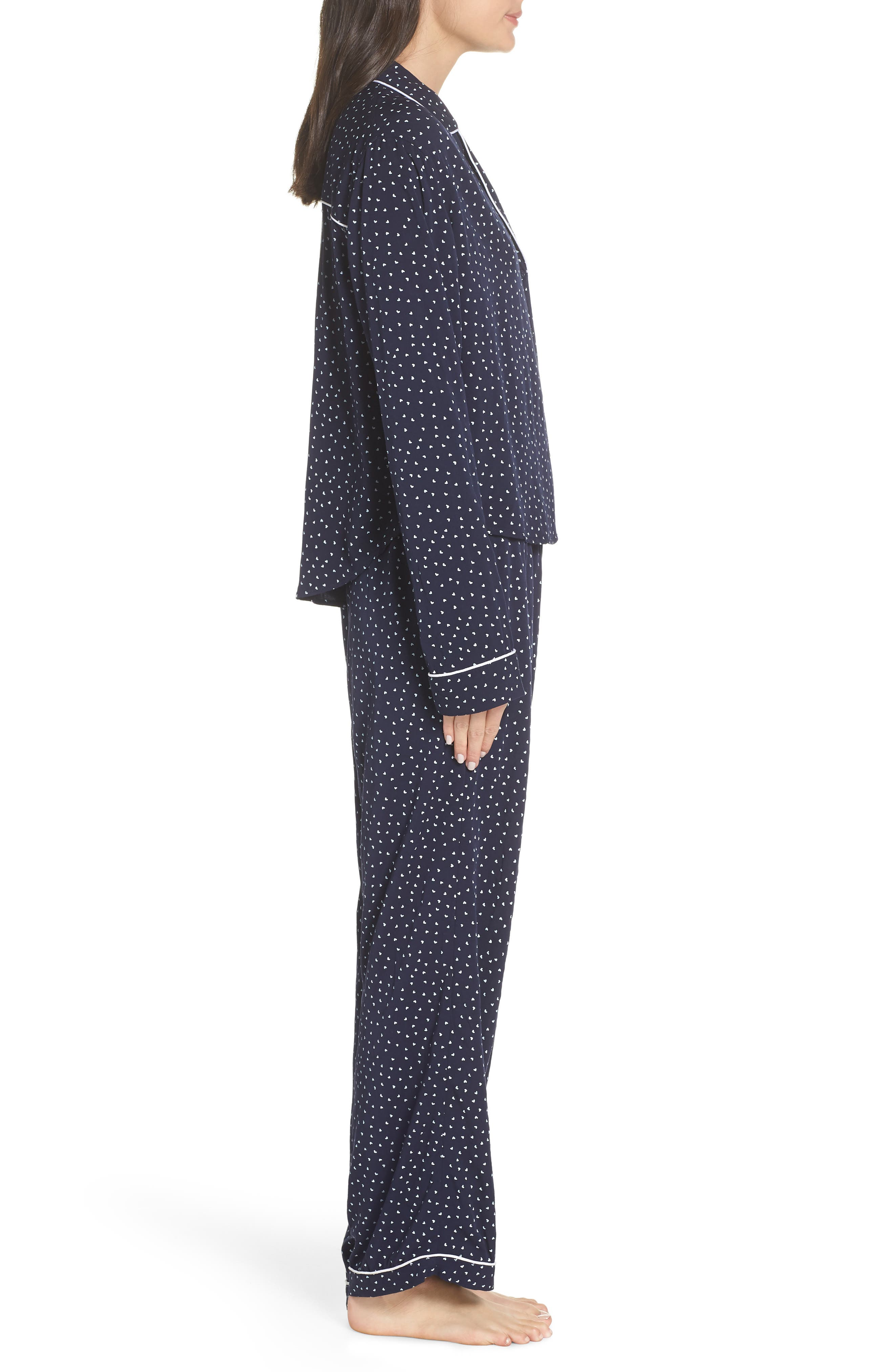 Heart Print Pajamas,                             Alternate thumbnail 3, color,                             NAVY MINI HEARTS
