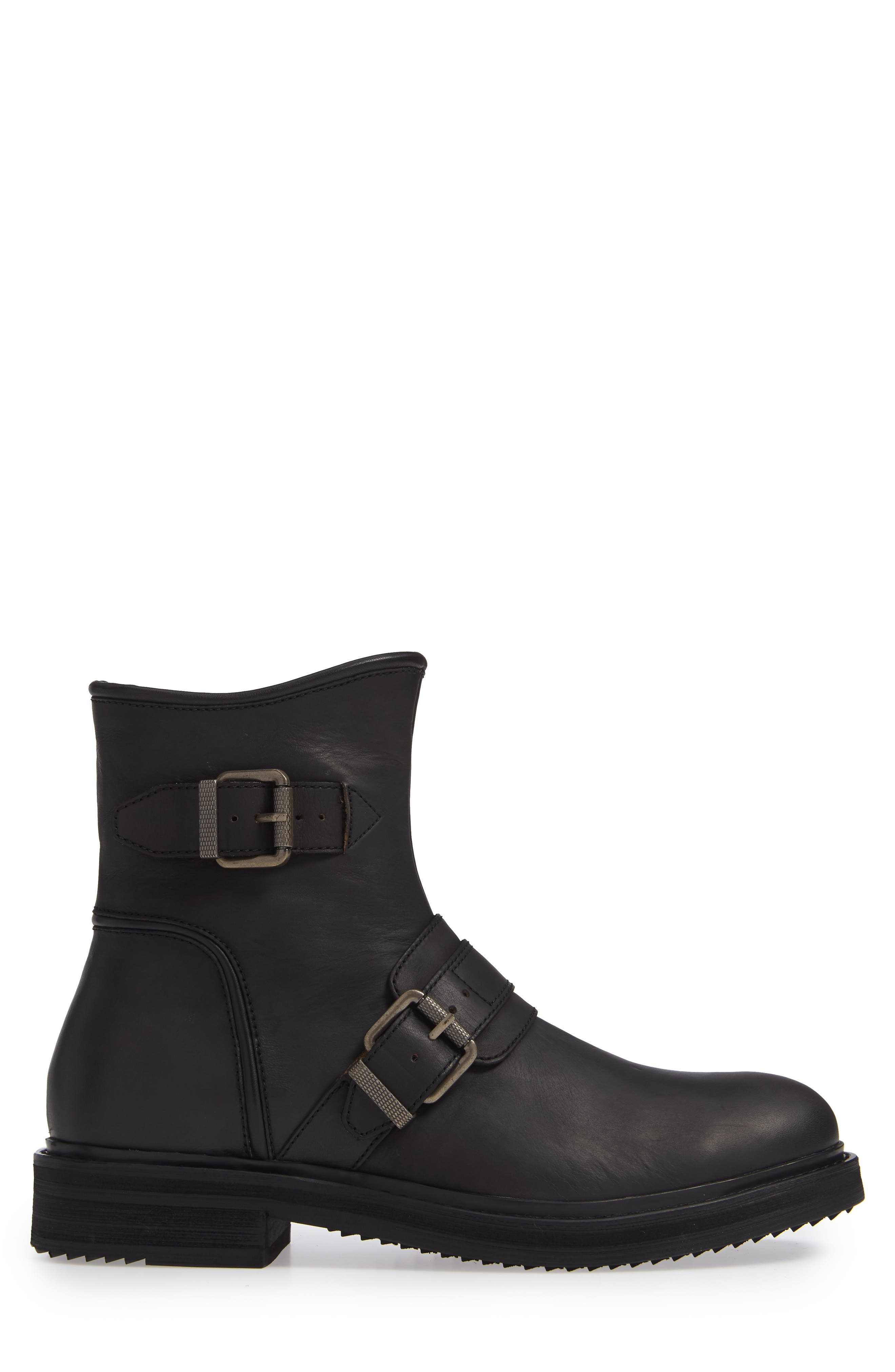 Cooper Moto Buckle Boot,                             Alternate thumbnail 3, color,                             MINERAL BLACK LEATHER
