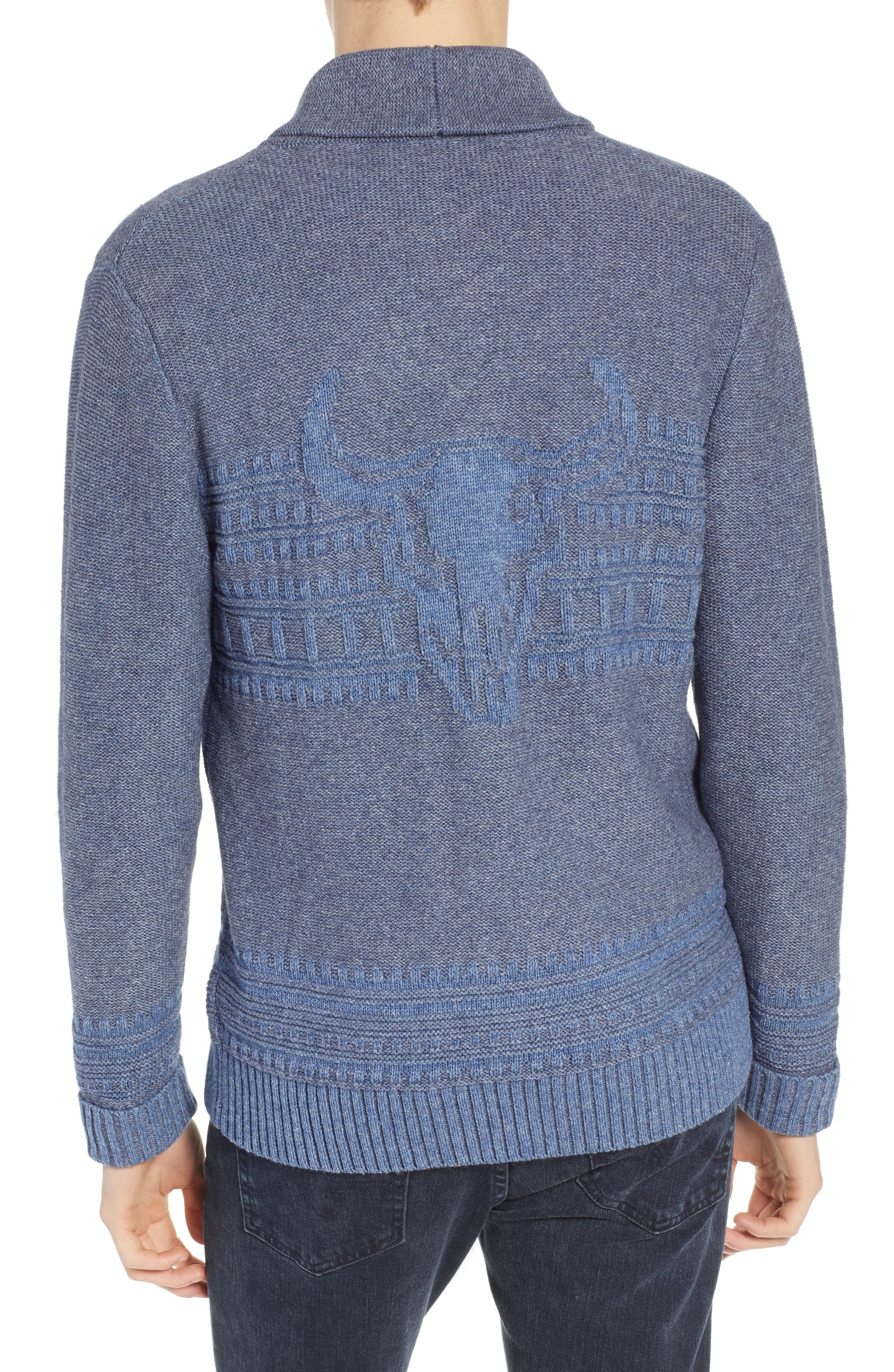 Bison Shawl Collar Sweater,                             Alternate thumbnail 2, color,                             BLUE