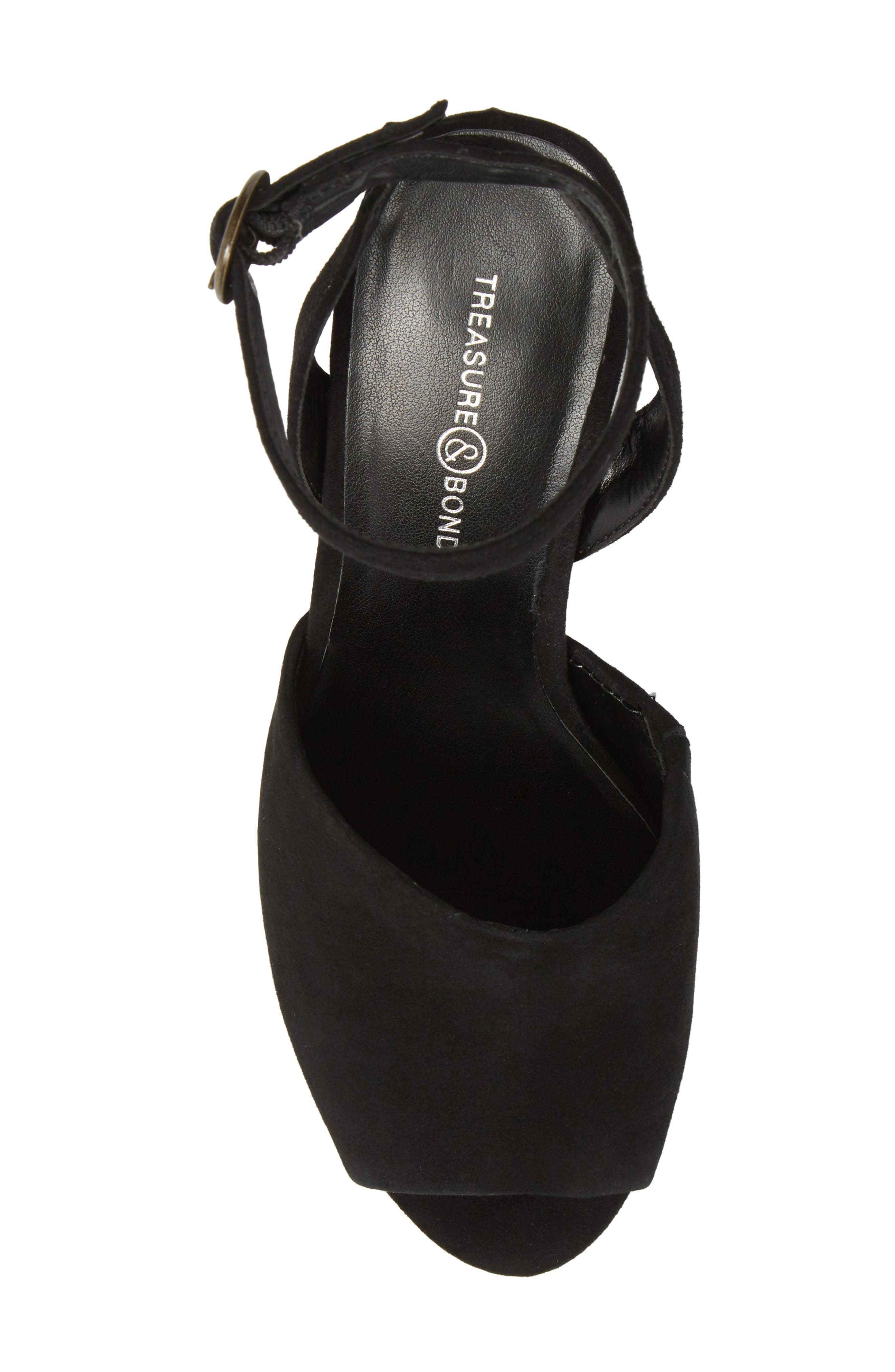 Pipper Block Heel Sandal,                             Alternate thumbnail 5, color,                             BLACK SUEDE