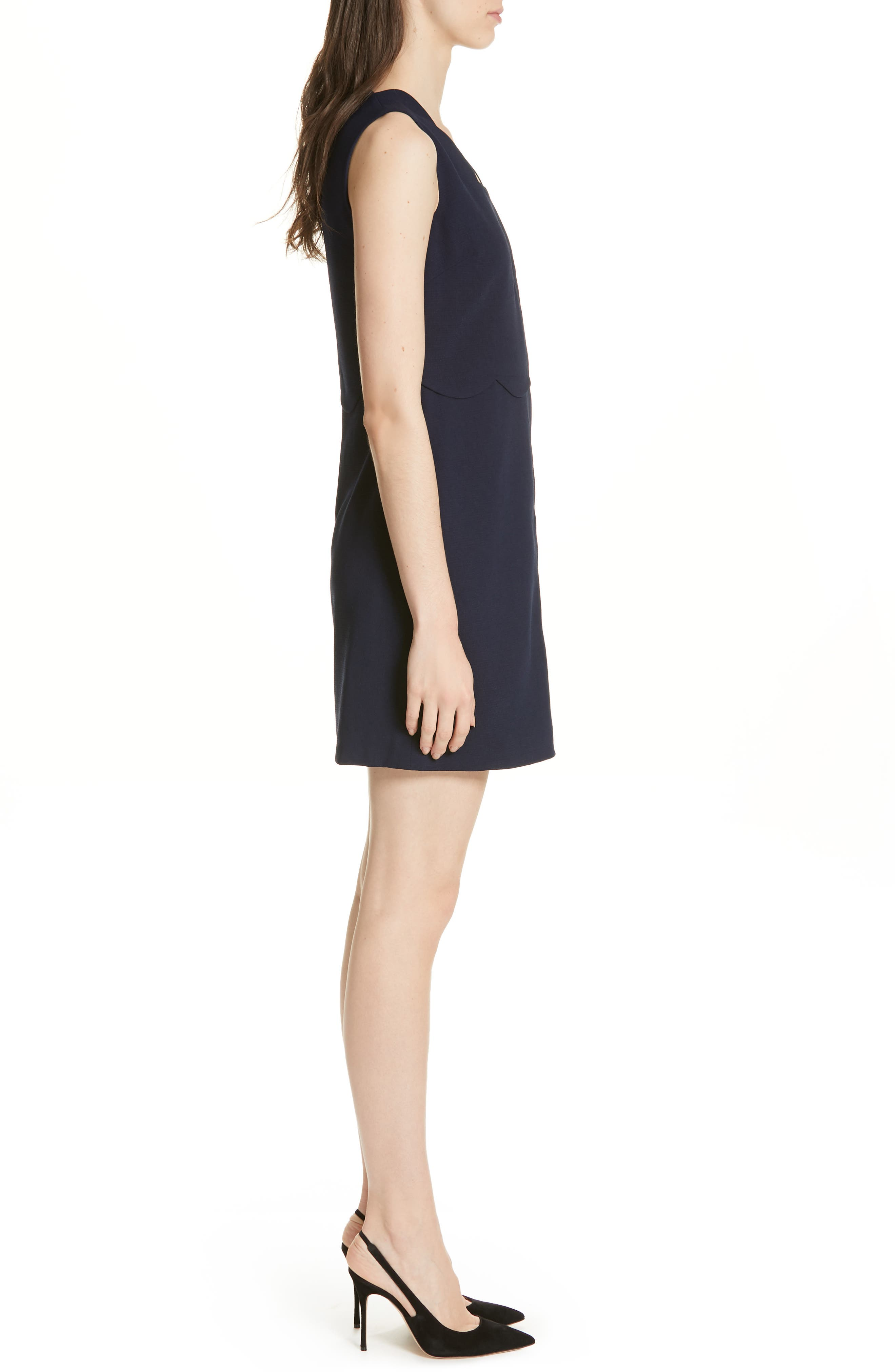 Rubeyed Scallop Edge A-Line Dress,                             Alternate thumbnail 3, color,                             DARK BLUE
