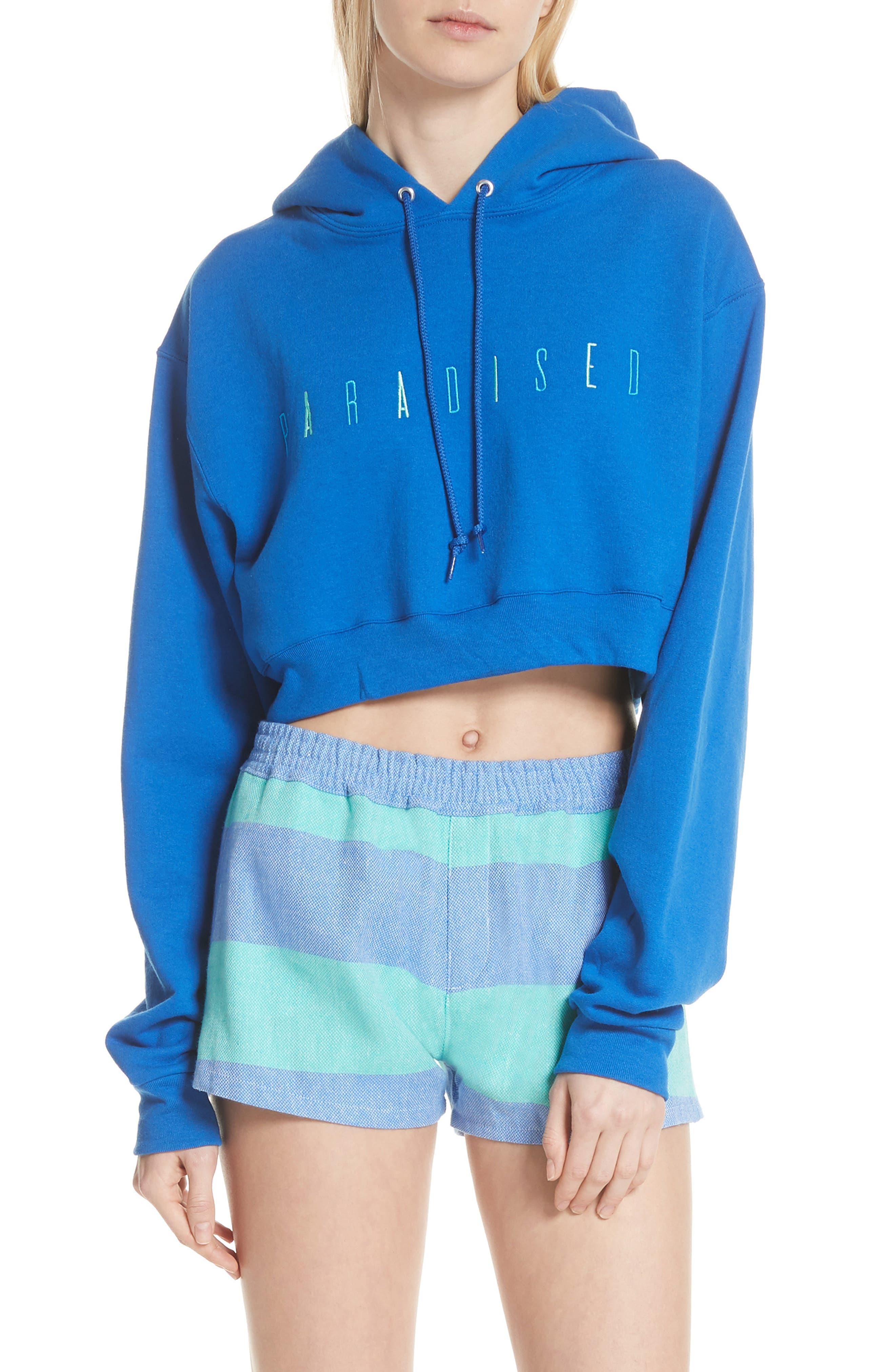 Logo Embroidered Crop Hoodie,                             Main thumbnail 1, color,                             ROYAL