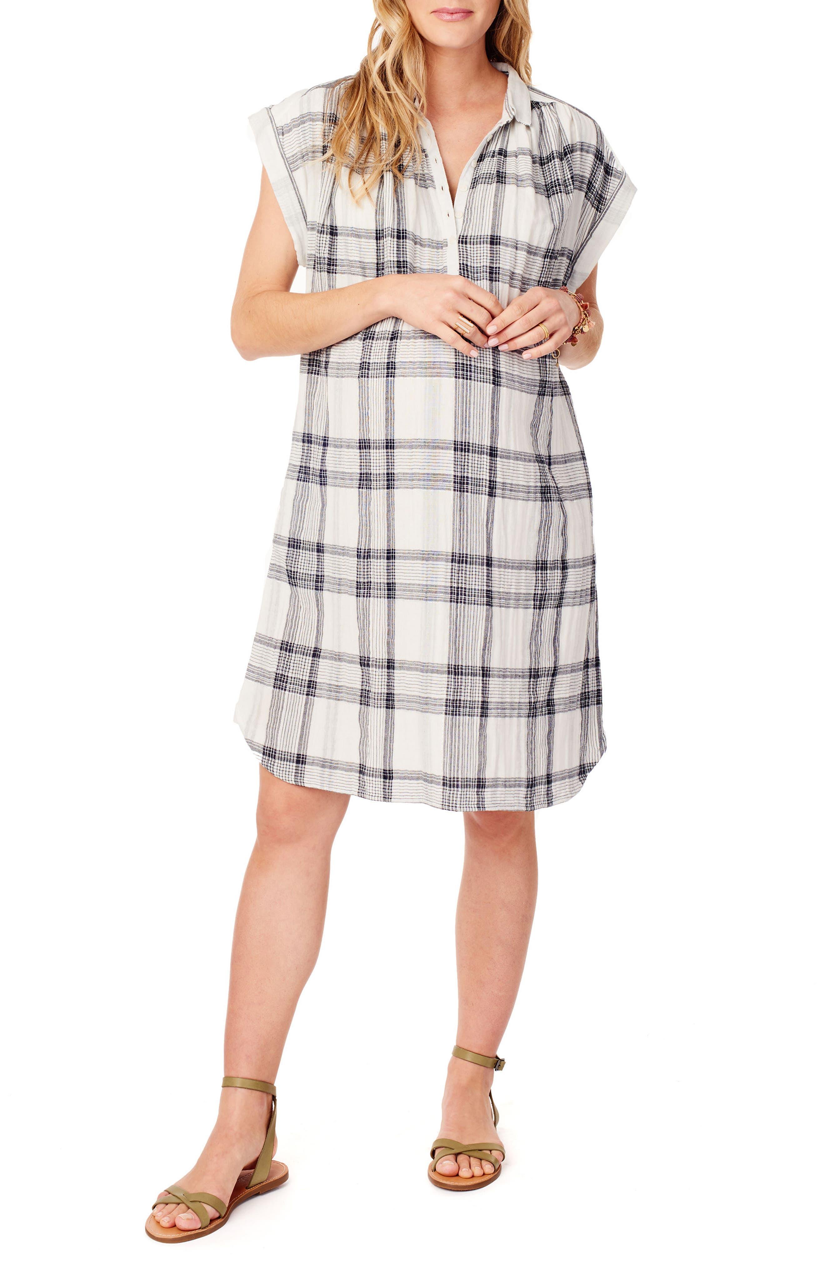 Ingrid & Isabel Maternity Shift Dress,                         Main,                         color, WHITE/ BLACK LUREX PLAID
