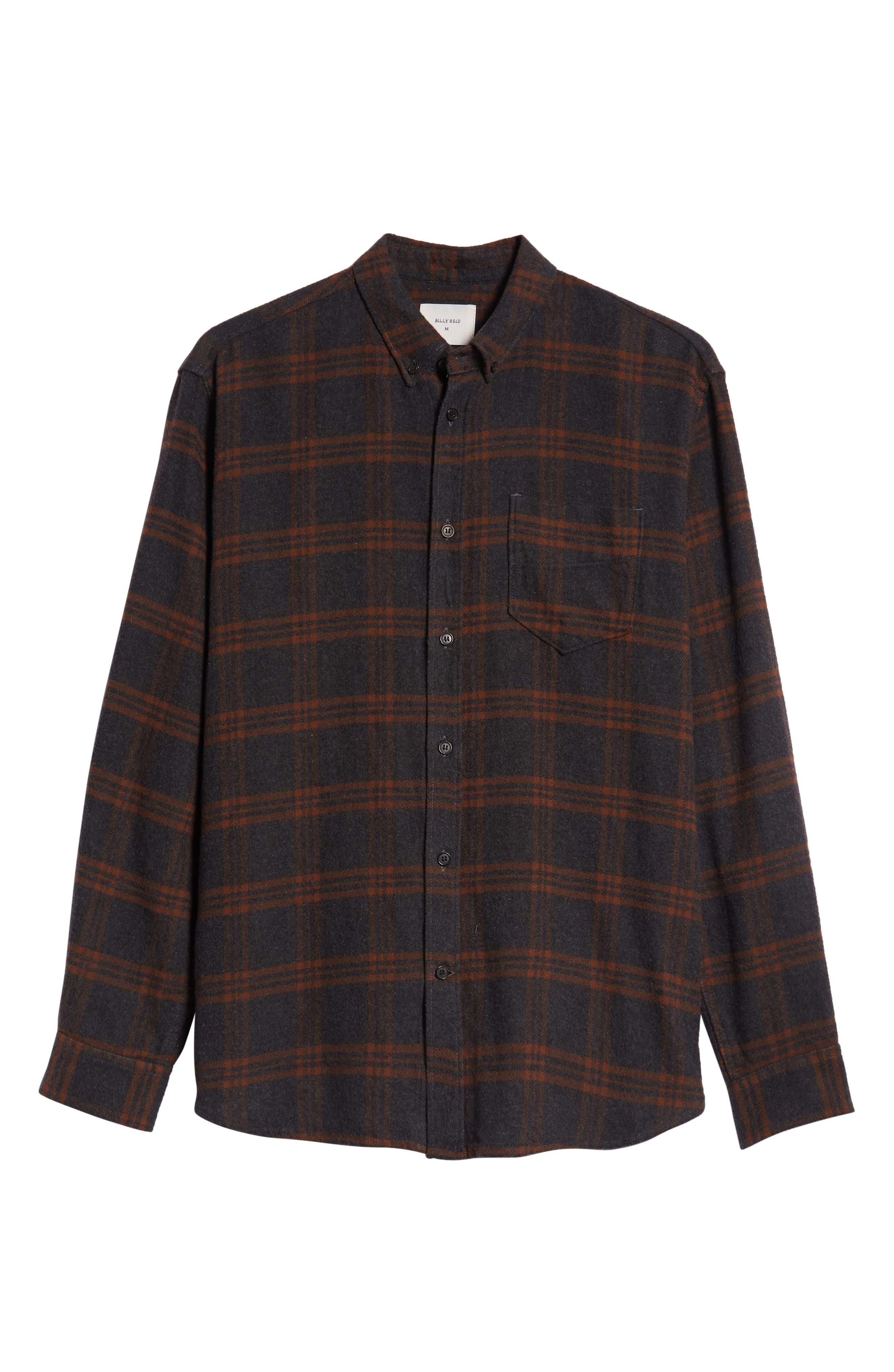 BILLY REID,                             Plaid Cotton Flannel Shirt,                             Alternate thumbnail 6, color,                             020