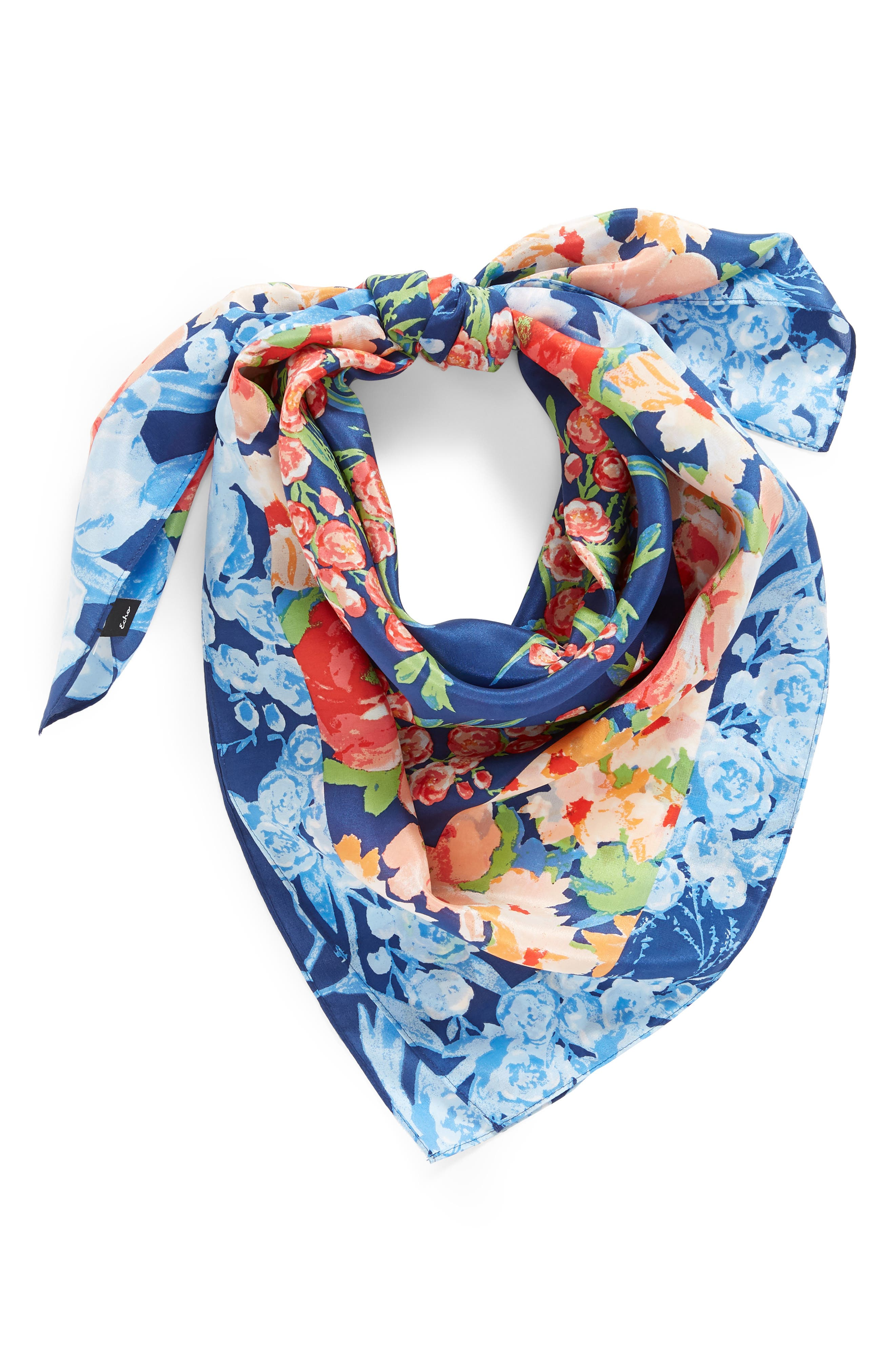 Airlie Beach Floral Silk Square Scarf,                             Alternate thumbnail 2, color,                             NAVY