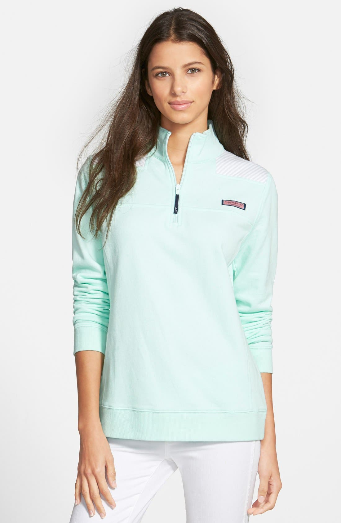 'Shep' Oxford Stripe Quarter Zip Pullover, Main, color, 367