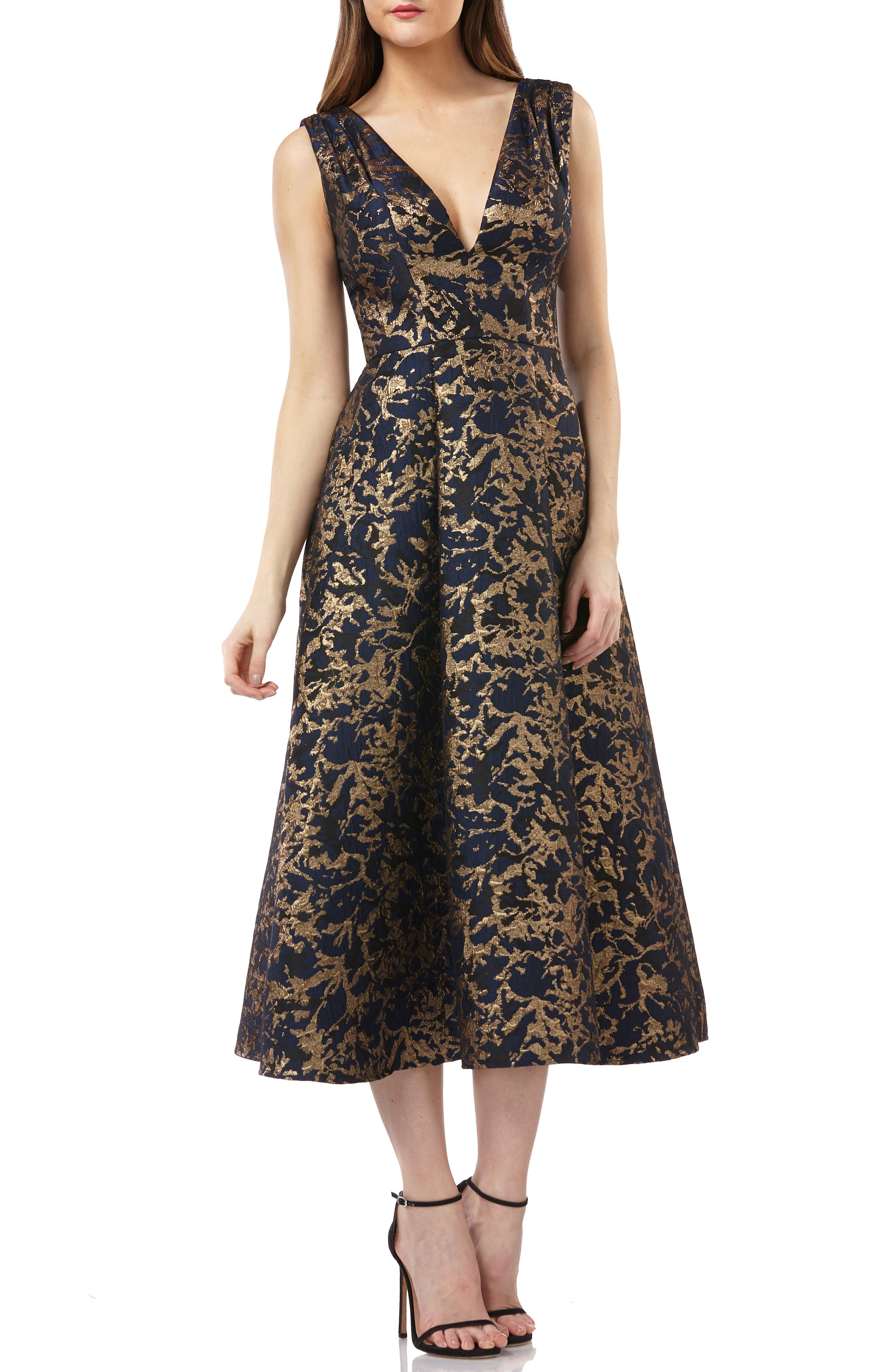 KAY UNGER Pleated Fit-And-Flare Midi Cocktail Dress W/ Pockets in Navy / Gold