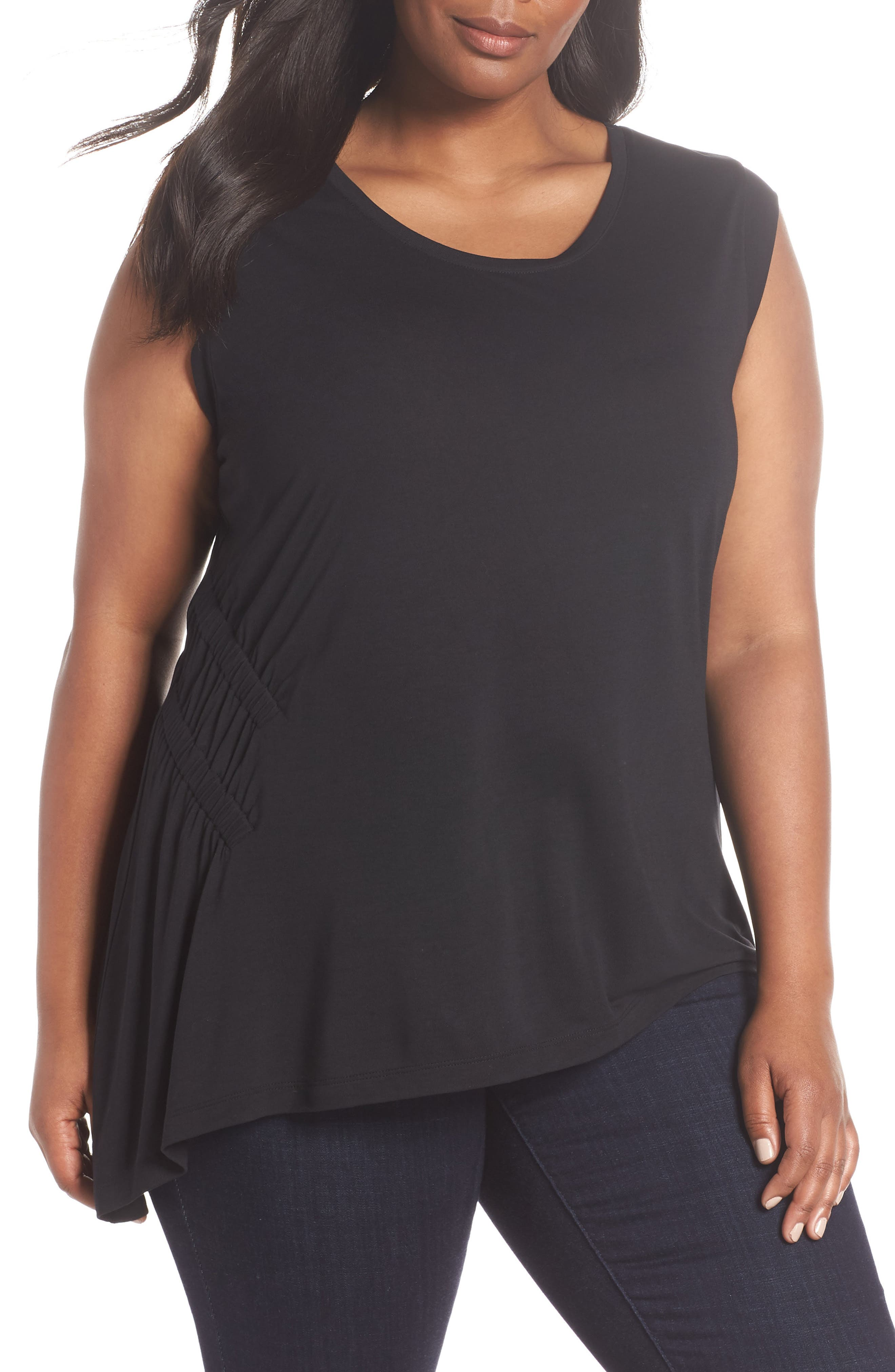 Sleeveless Ruched Asymmetrical Top,                             Main thumbnail 1, color,                             001