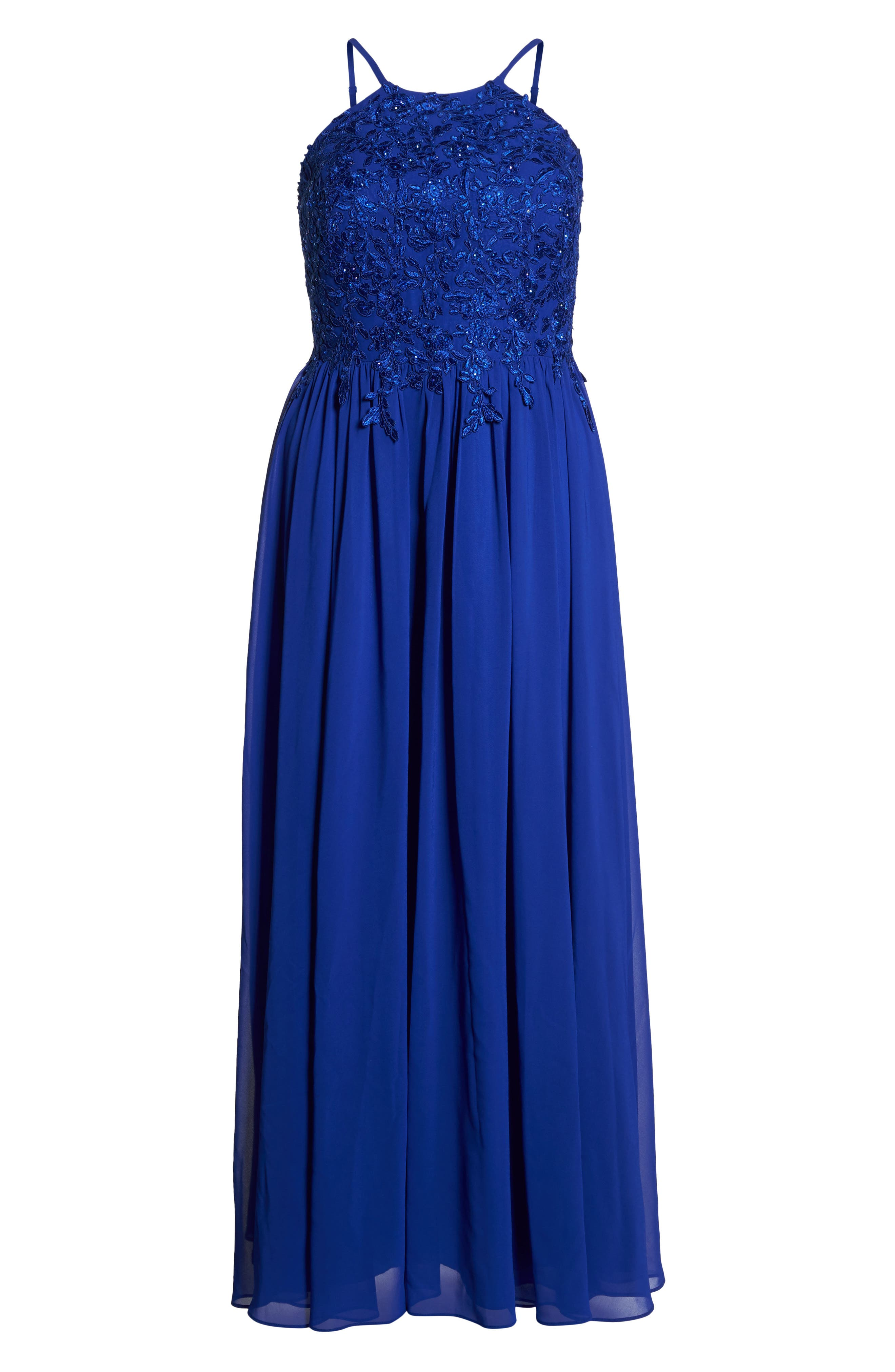 Embroidered Bodice Halter Top Maxi Dress,                             Alternate thumbnail 6, color,                             ROYAL