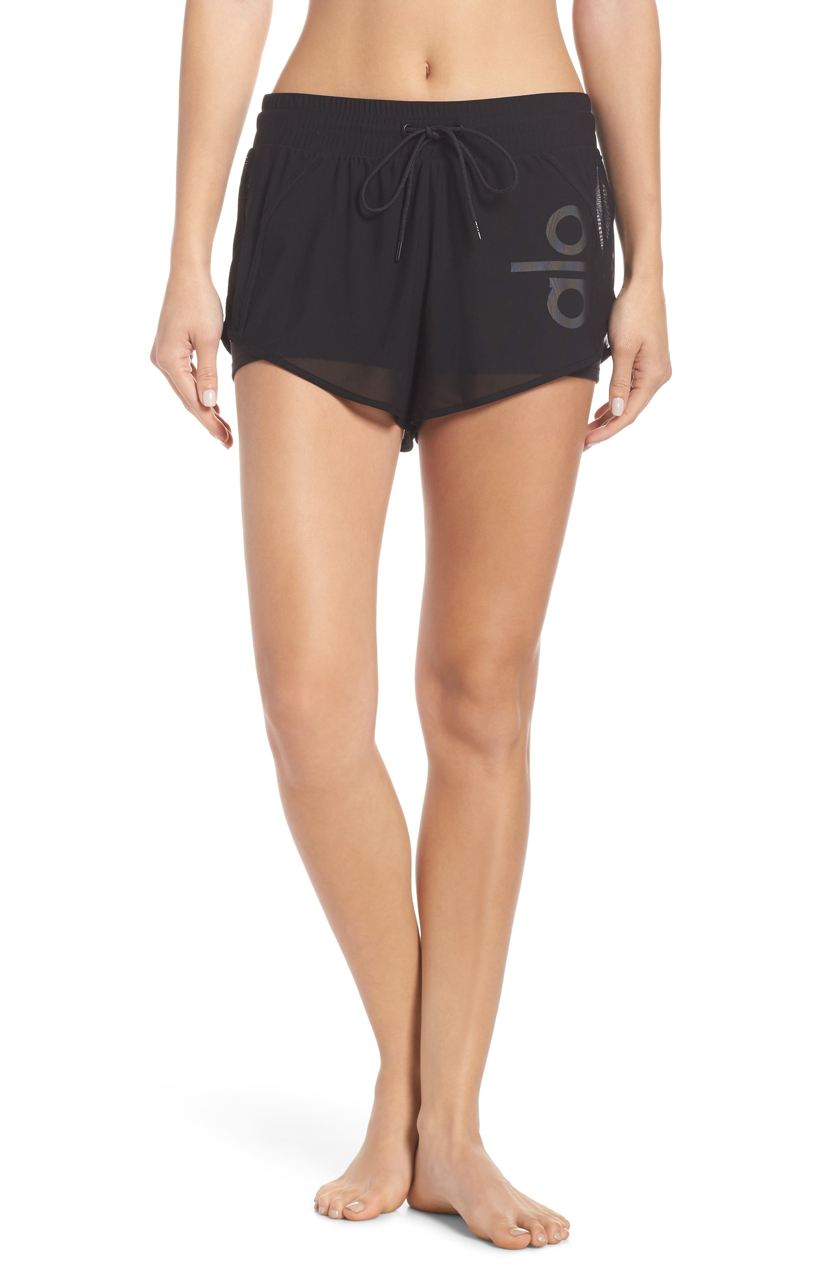 Ambience Shorts,                             Main thumbnail 1, color,                             BLACK/ BLACK/ ALO/ WHITE
