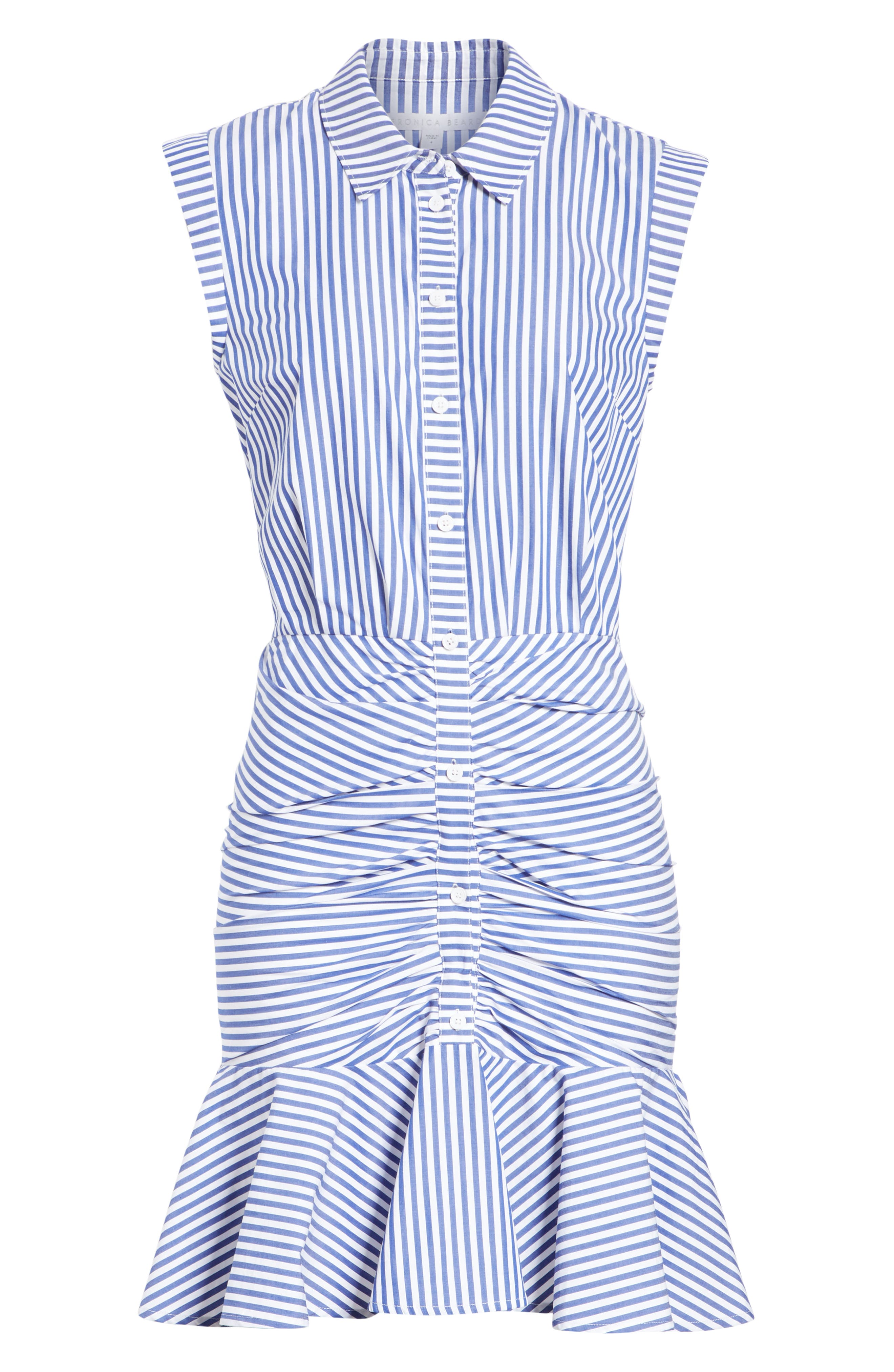 Bell Stripe Ruched Shirtdress,                             Alternate thumbnail 8, color,                             400