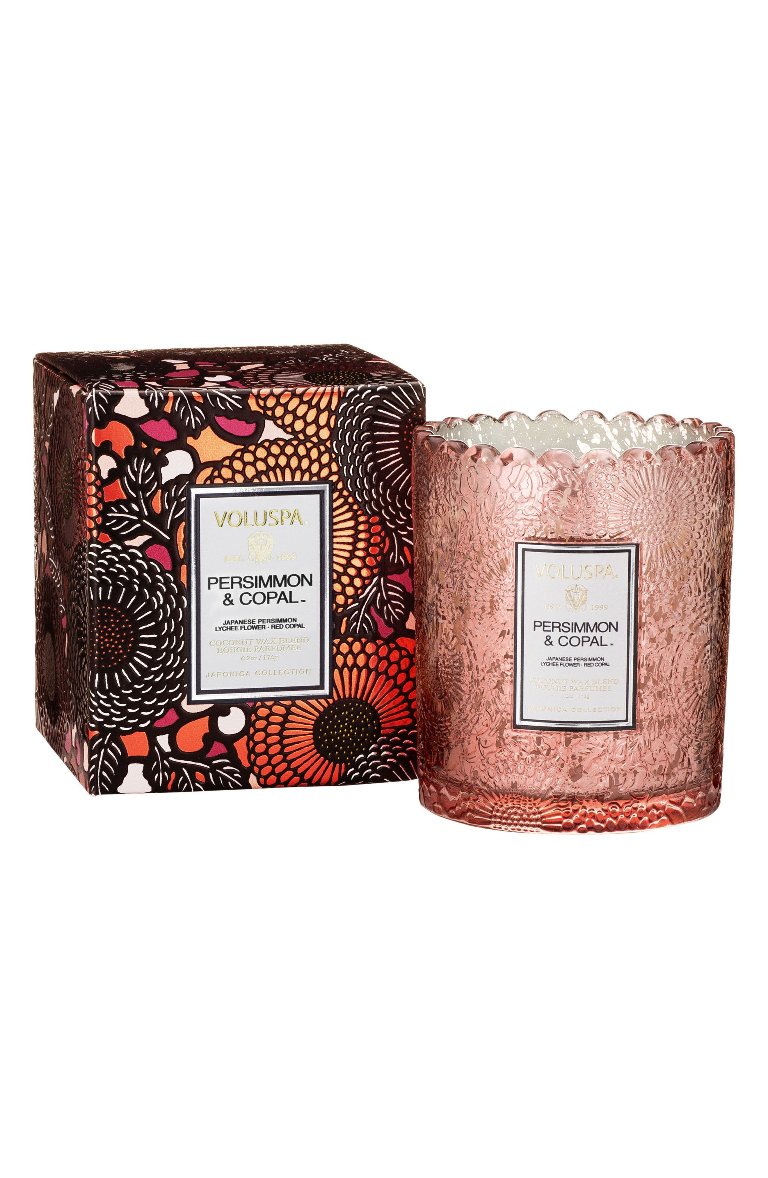 Japonica - Persimmon & Copal Scalloped Edge Glass Candle,                             Main thumbnail 1, color,                             650