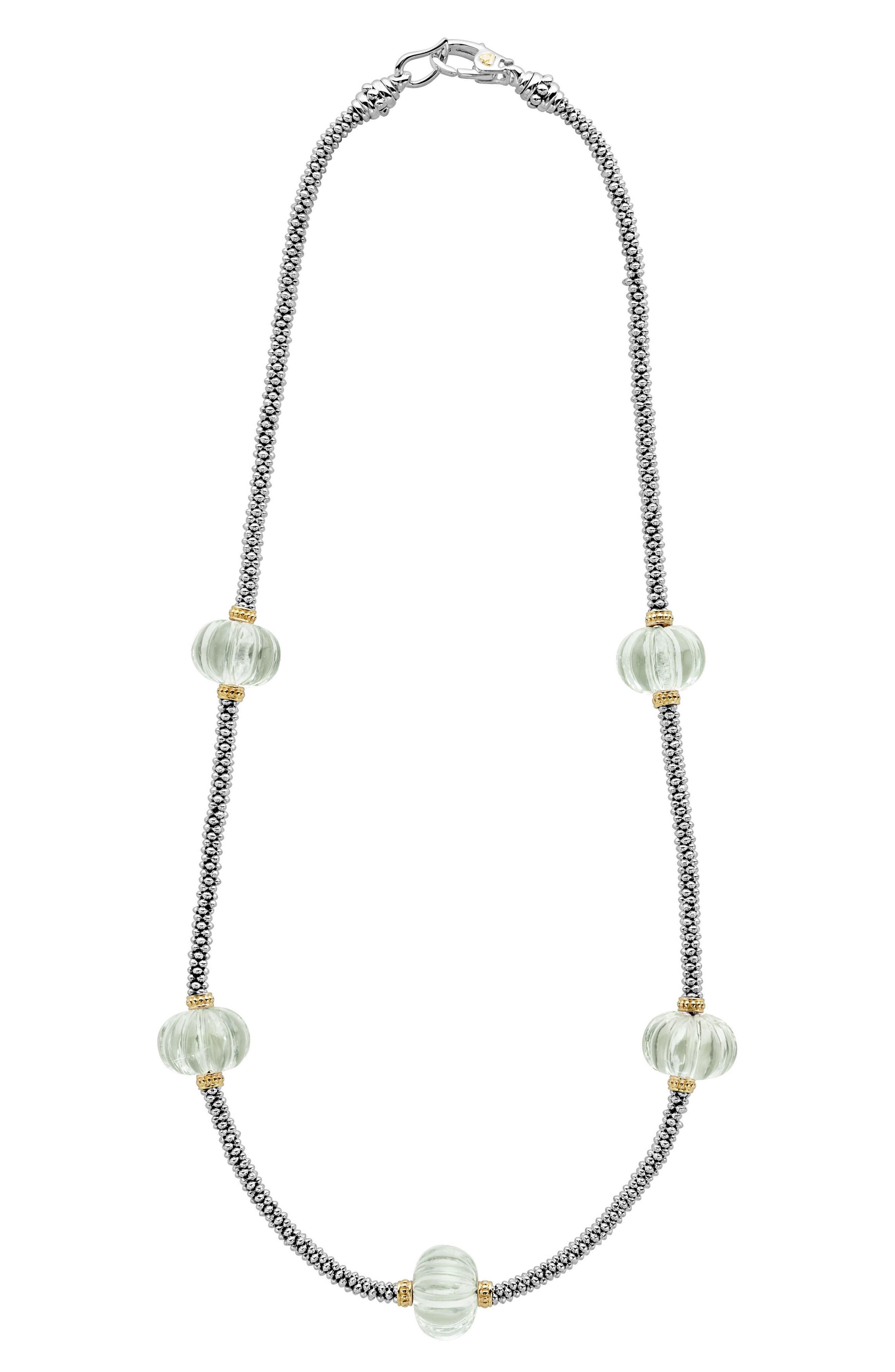 Caviar Forever Gemstone Melon Bead Rope Necklace,                         Main,                         color, 300
