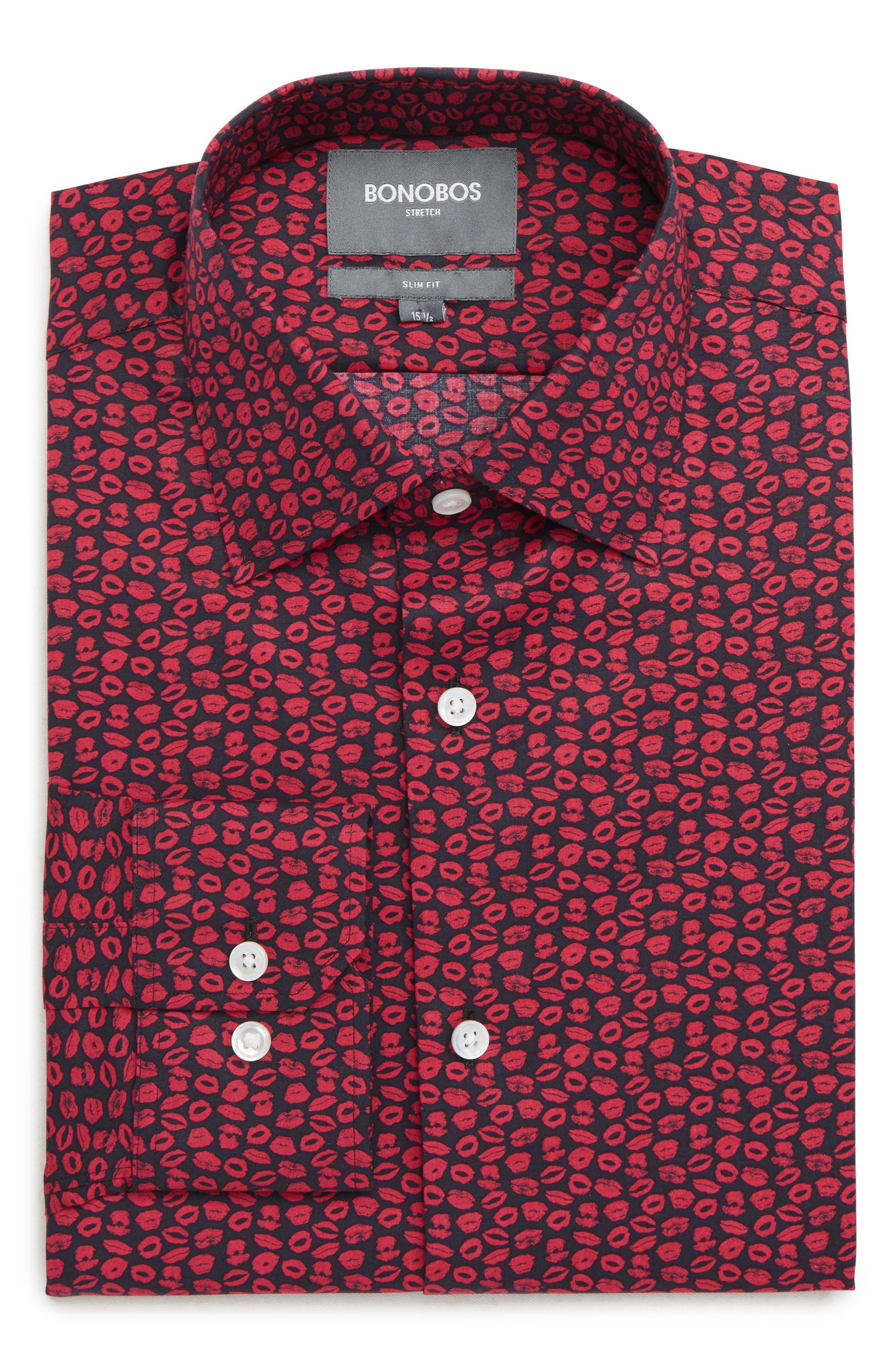XOXO Slim Fit Stretch Print Dress Shirt,                             Main thumbnail 1, color,                             PINK