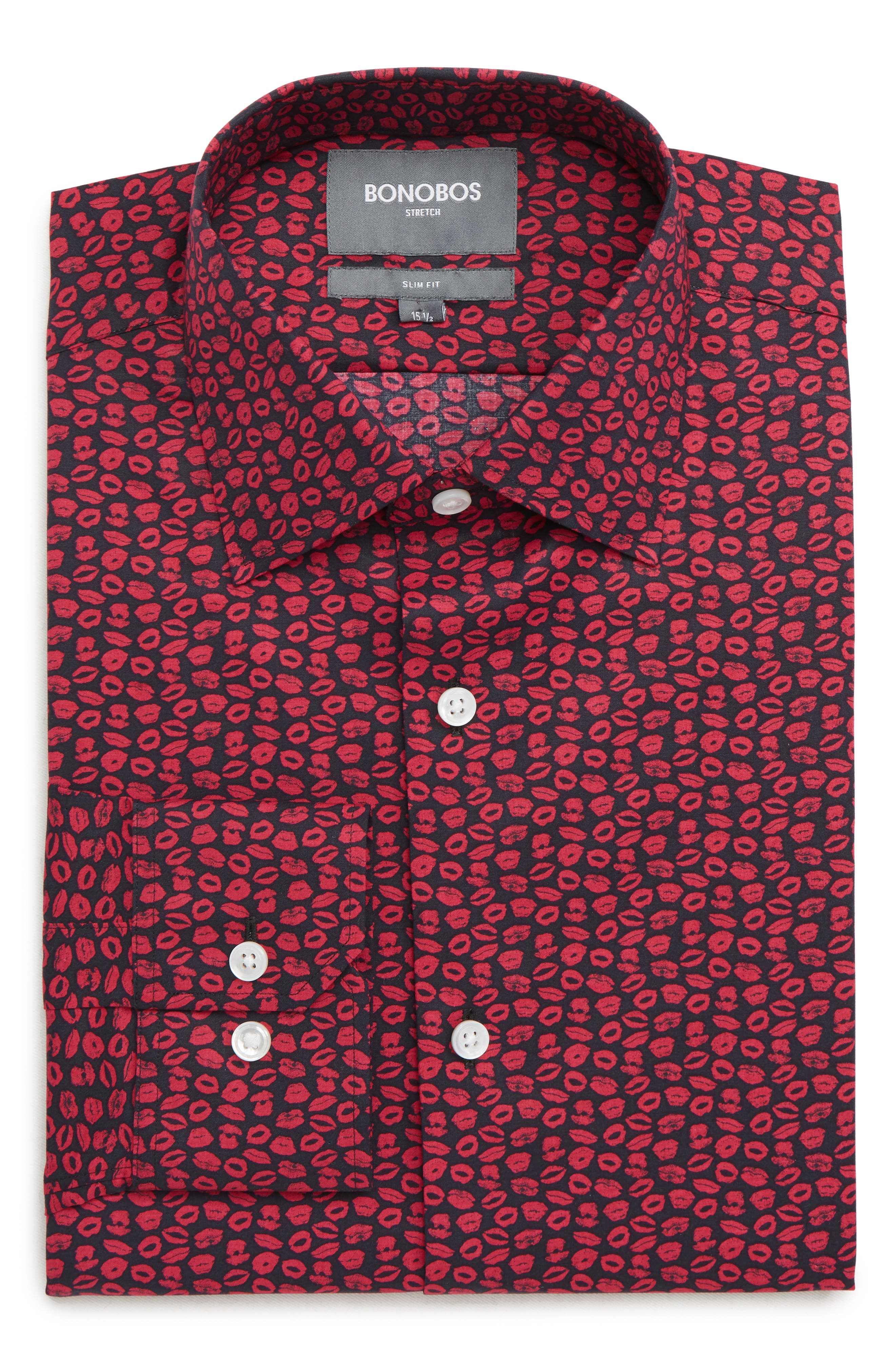XOXO Slim Fit Stretch Print Dress Shirt,                         Main,                         color, PINK