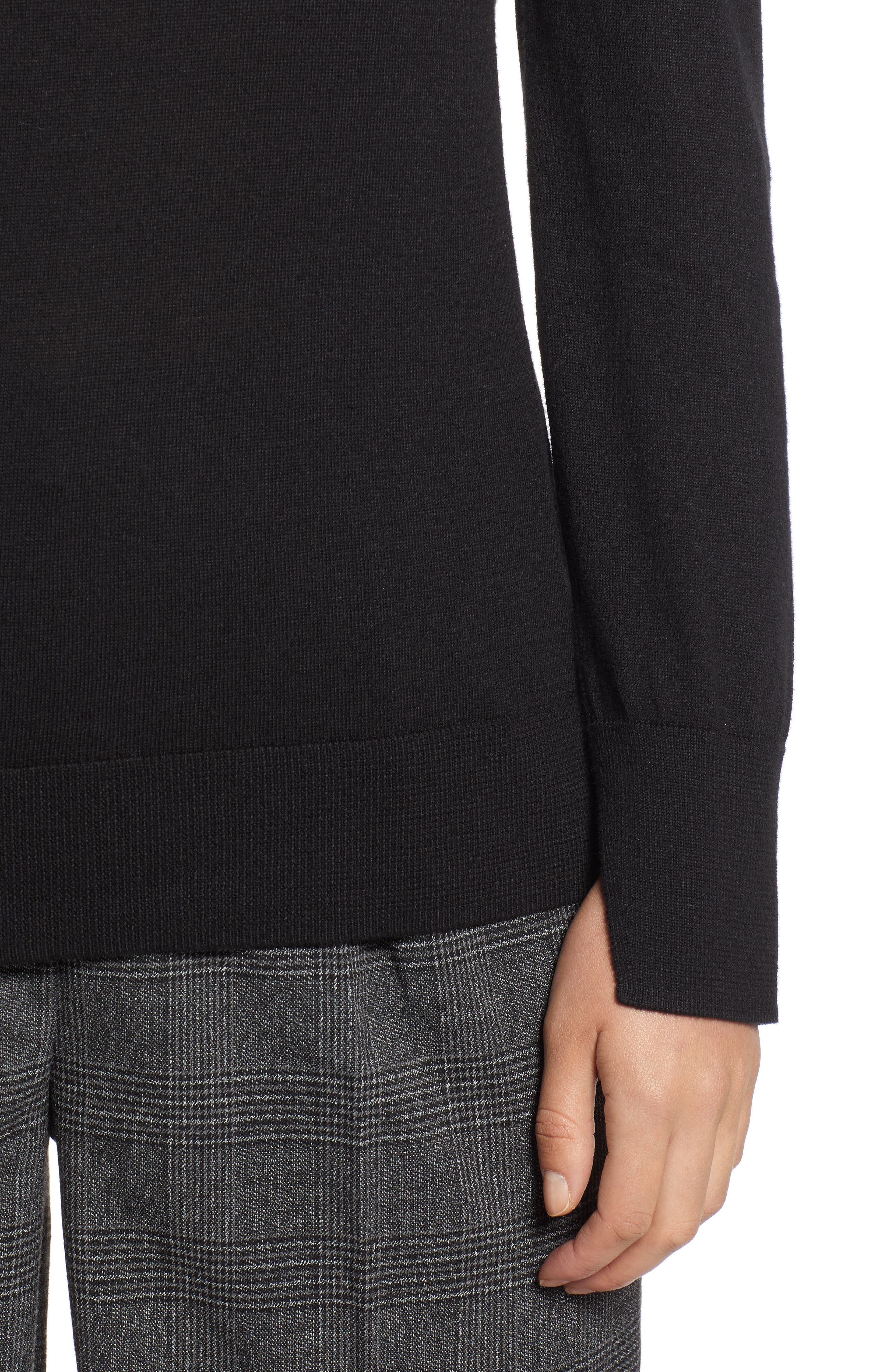 HALOGEN<SUP>®</SUP>,                             Slit Sleeve Sweater,                             Alternate thumbnail 4, color,                             BLACK