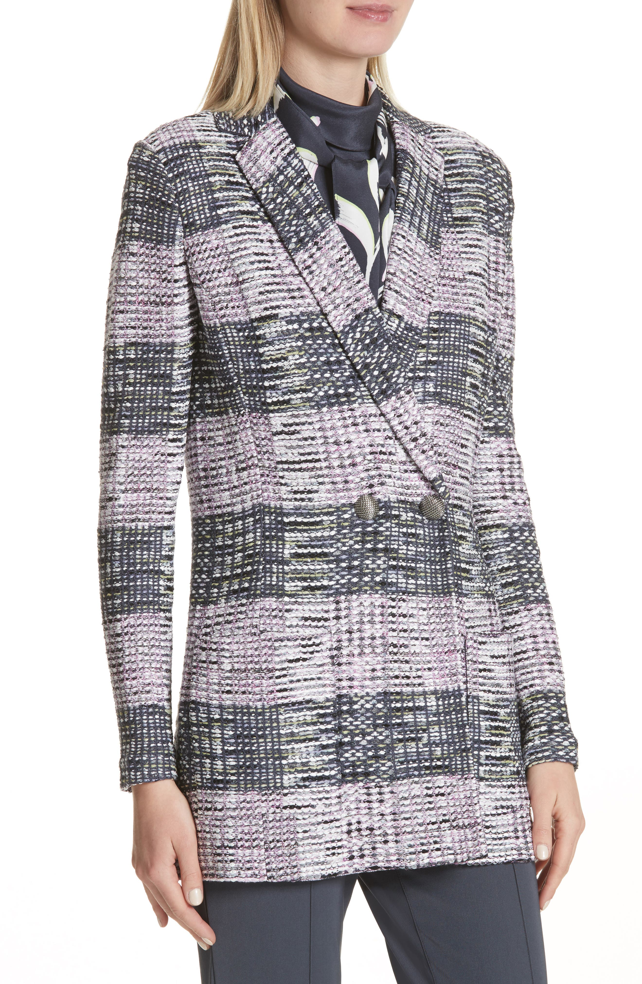 Anna Plaid Double Breasted Blazer,                             Alternate thumbnail 4, color,                             020