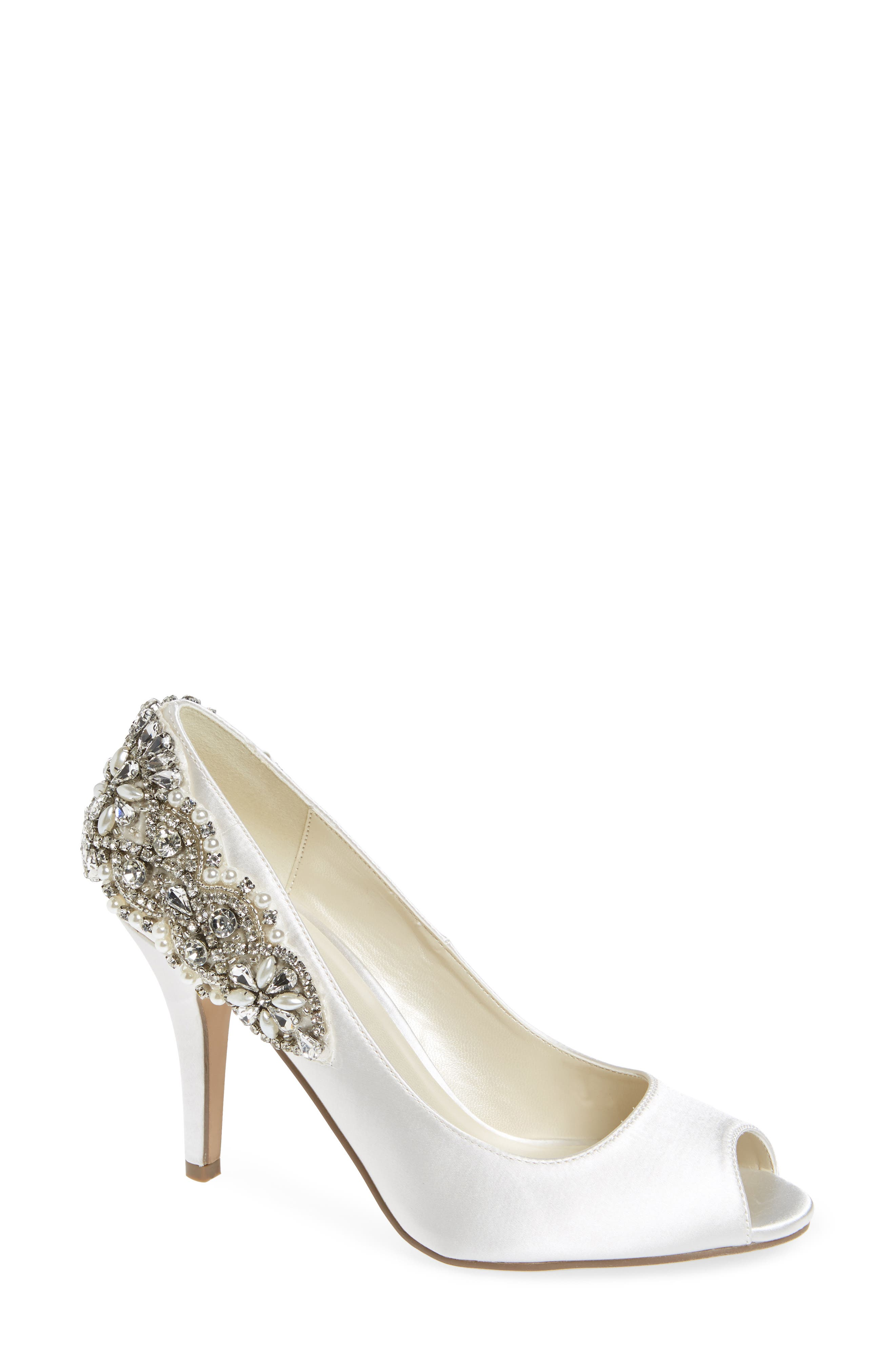 Cynthia Embellished Pump,                             Main thumbnail 1, color,                             IVORY SATIN