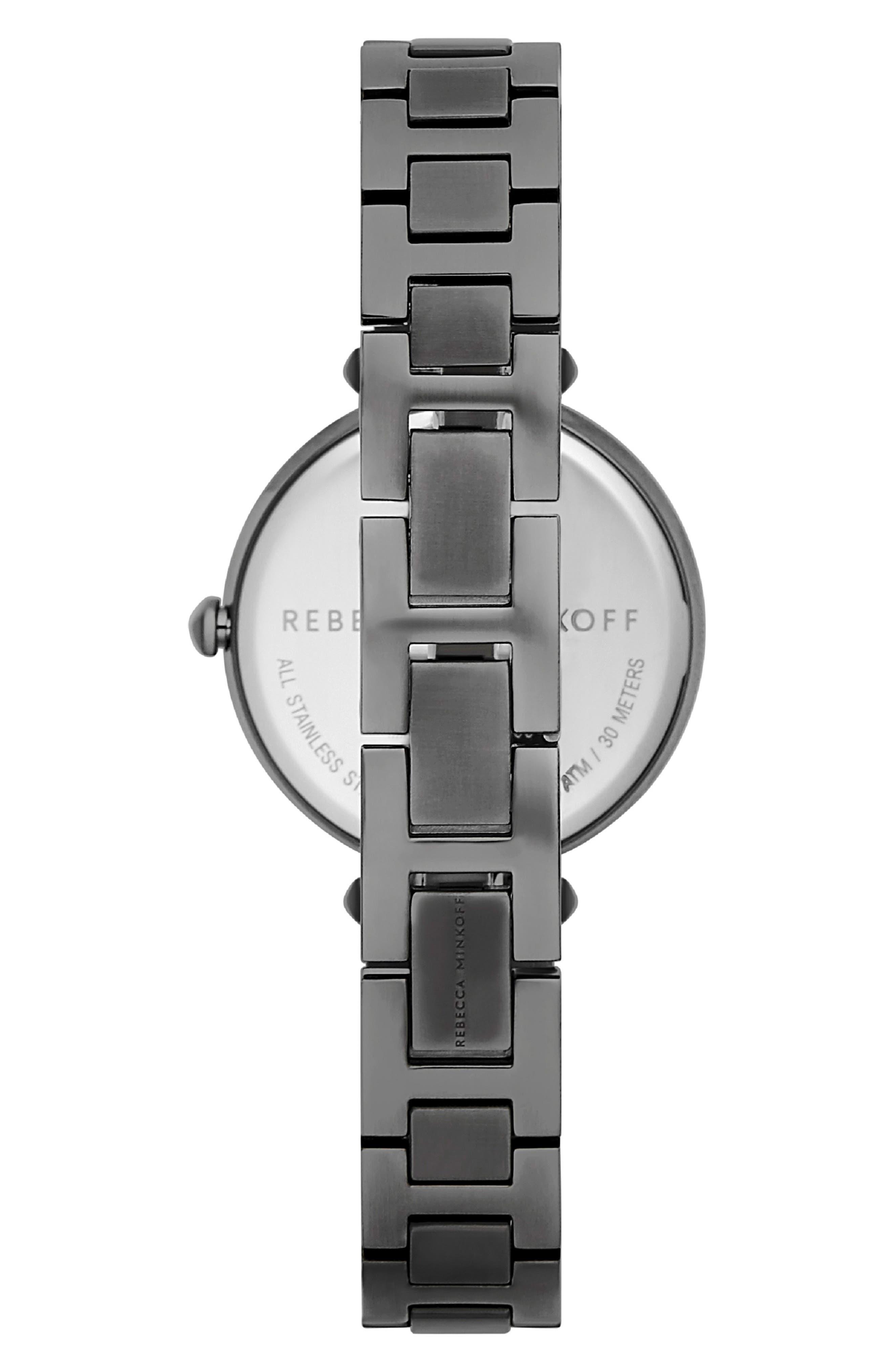 T-Bar Bracelet Strap Watch, 33mm,                             Alternate thumbnail 2, color,                             GREY/ ROSE GOLD/ GREY