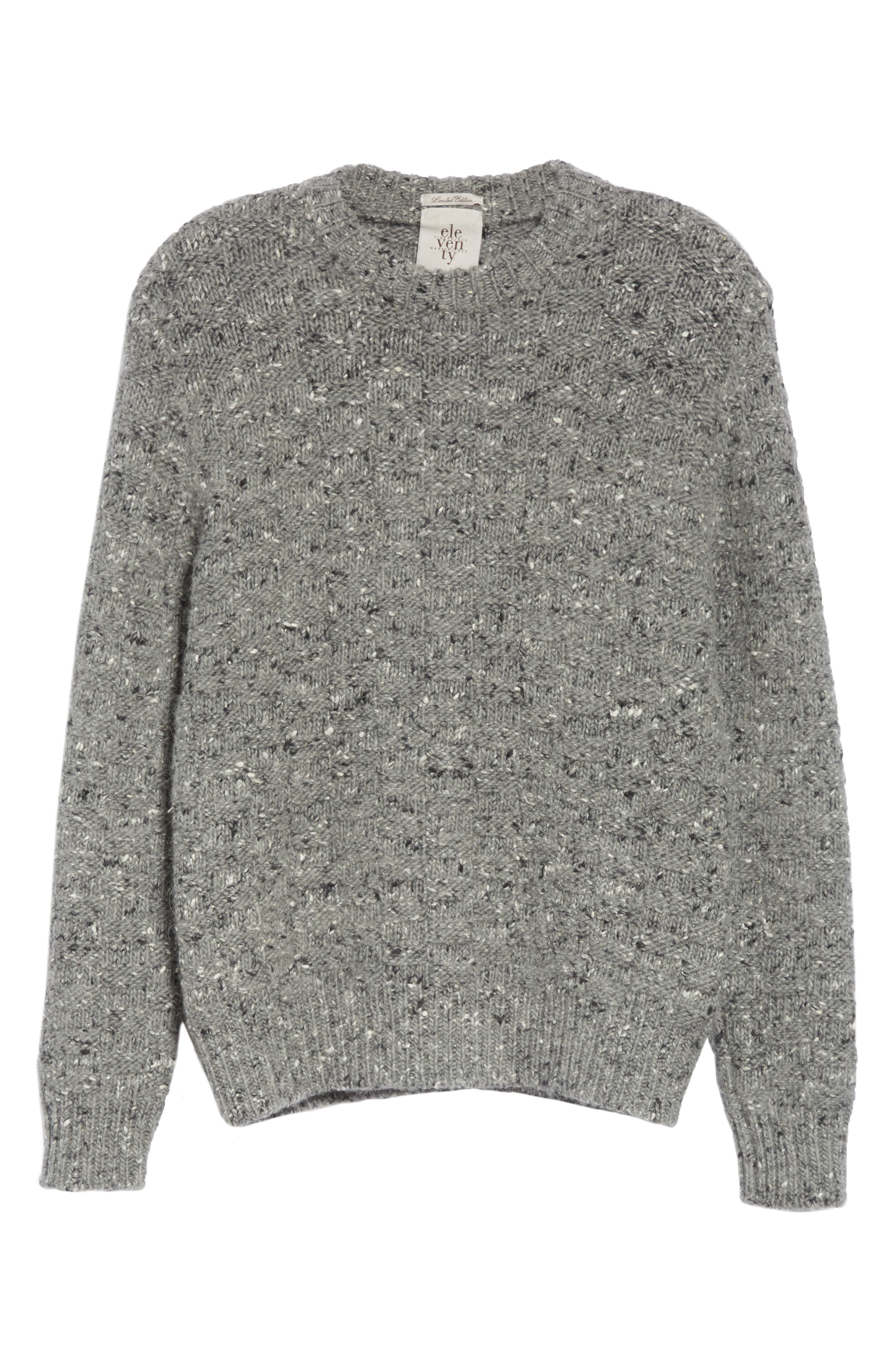 Wool Blend Crewneck Sweater,                             Alternate thumbnail 6, color,                             GREY