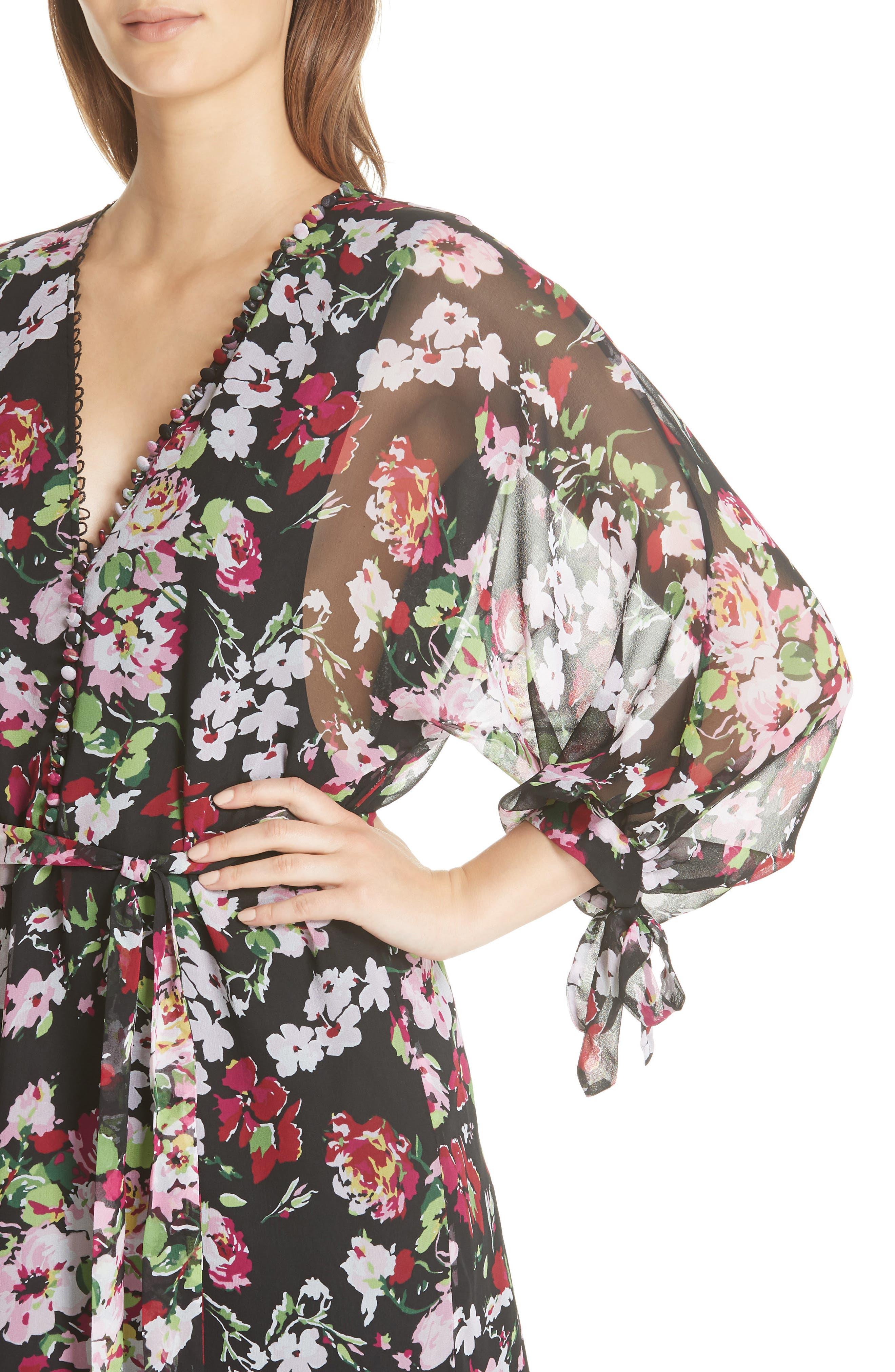 Natasha Floral Print Silk Dress,                             Alternate thumbnail 4, color,                             TRUE BLACK MULTI